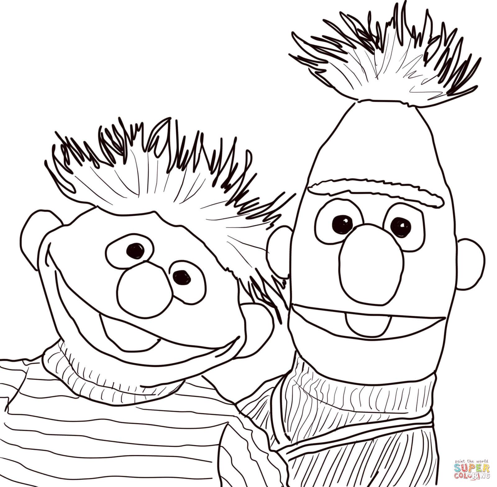 Ausmalbild Ernie Und Bert Portrait