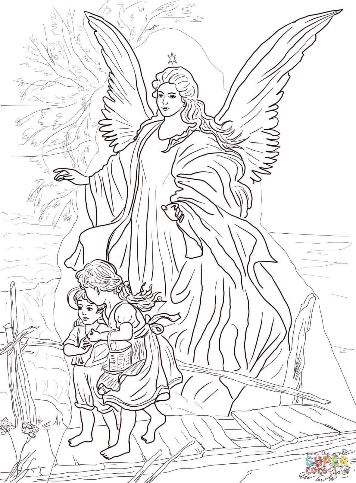 by guardian angel coloring page free printable coloring pages