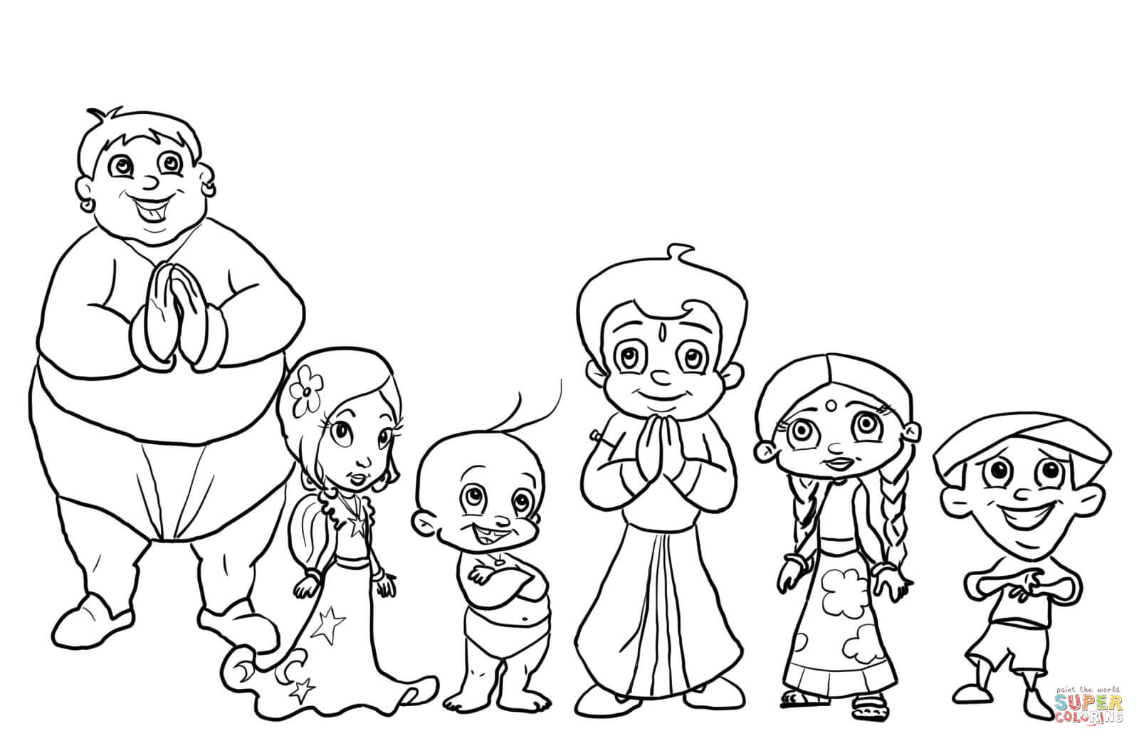 Chhota Bheem Characters Coloring Page