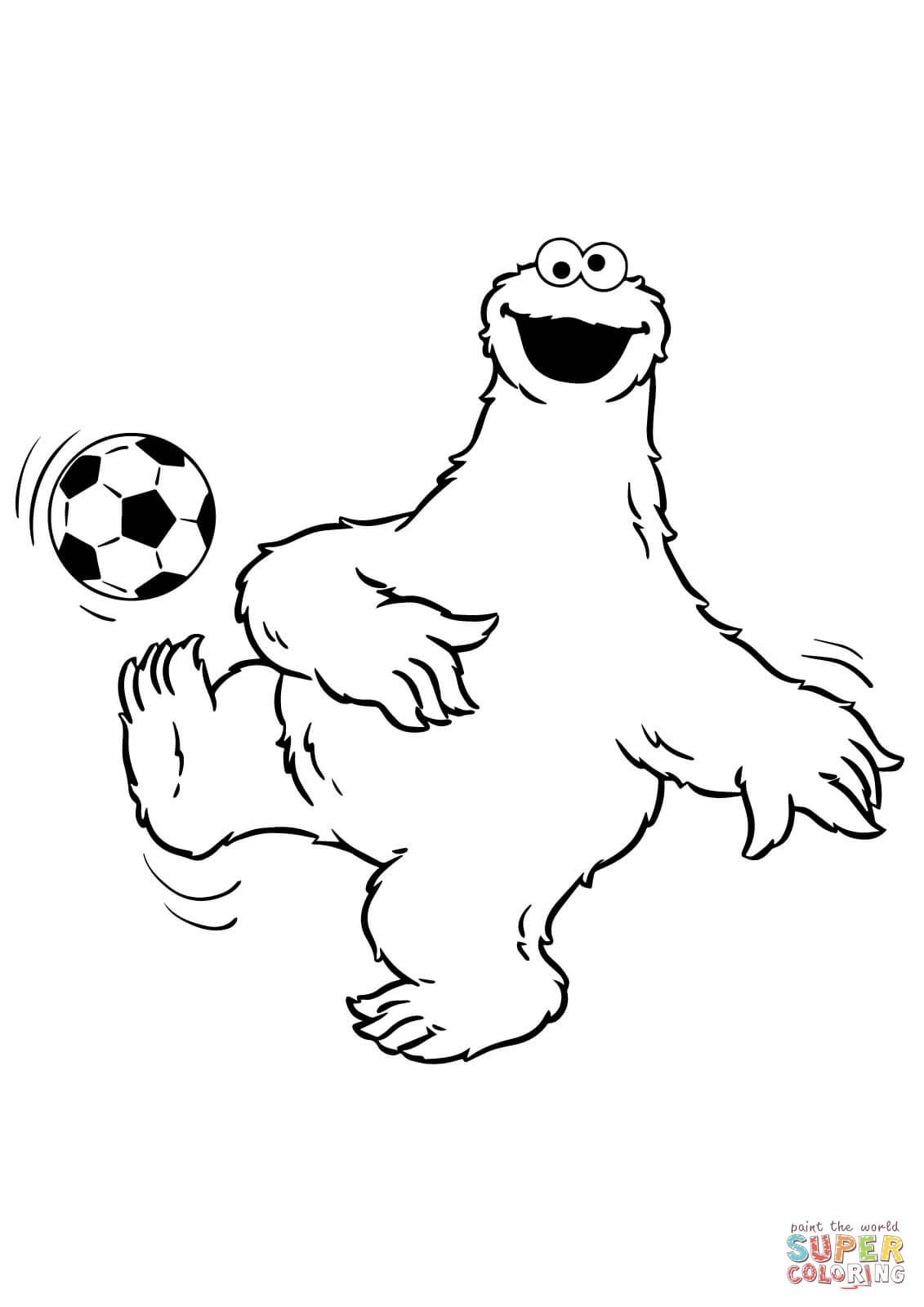 Koekiemonster Speelt Voetbal Kleurplaat