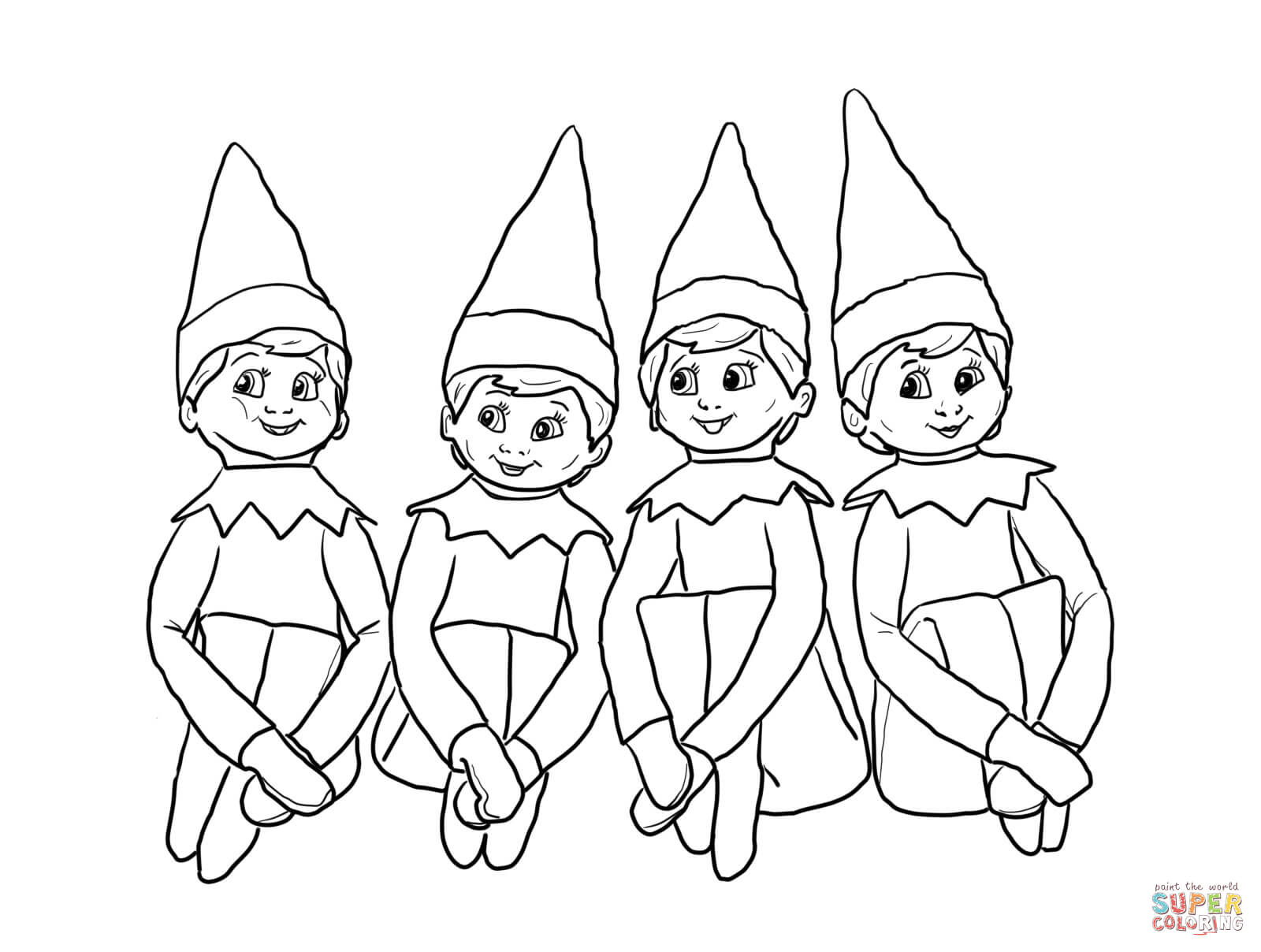 Elves On The Shelf Coloring Page