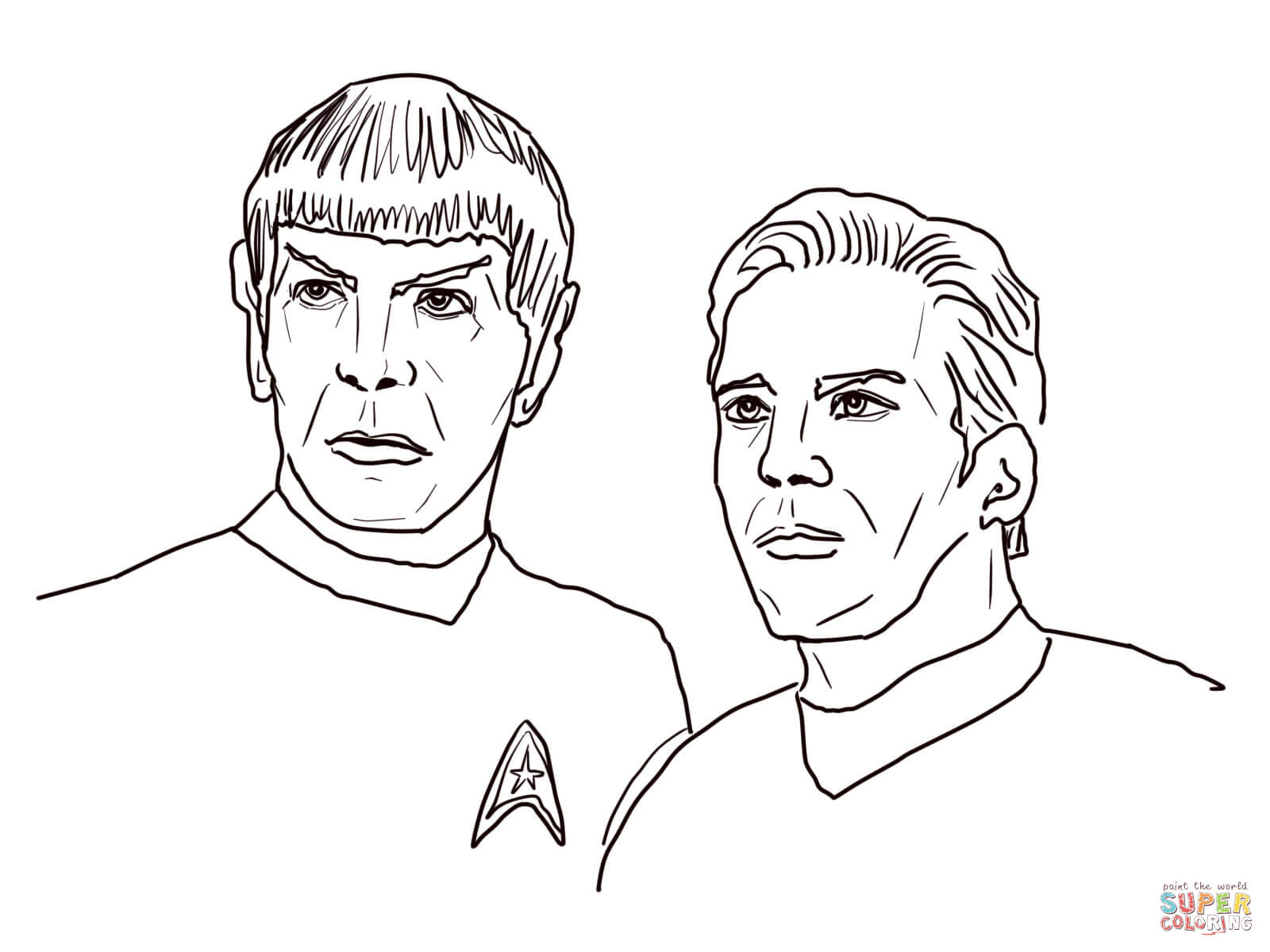kirk and spock coloring page free printable coloring pages