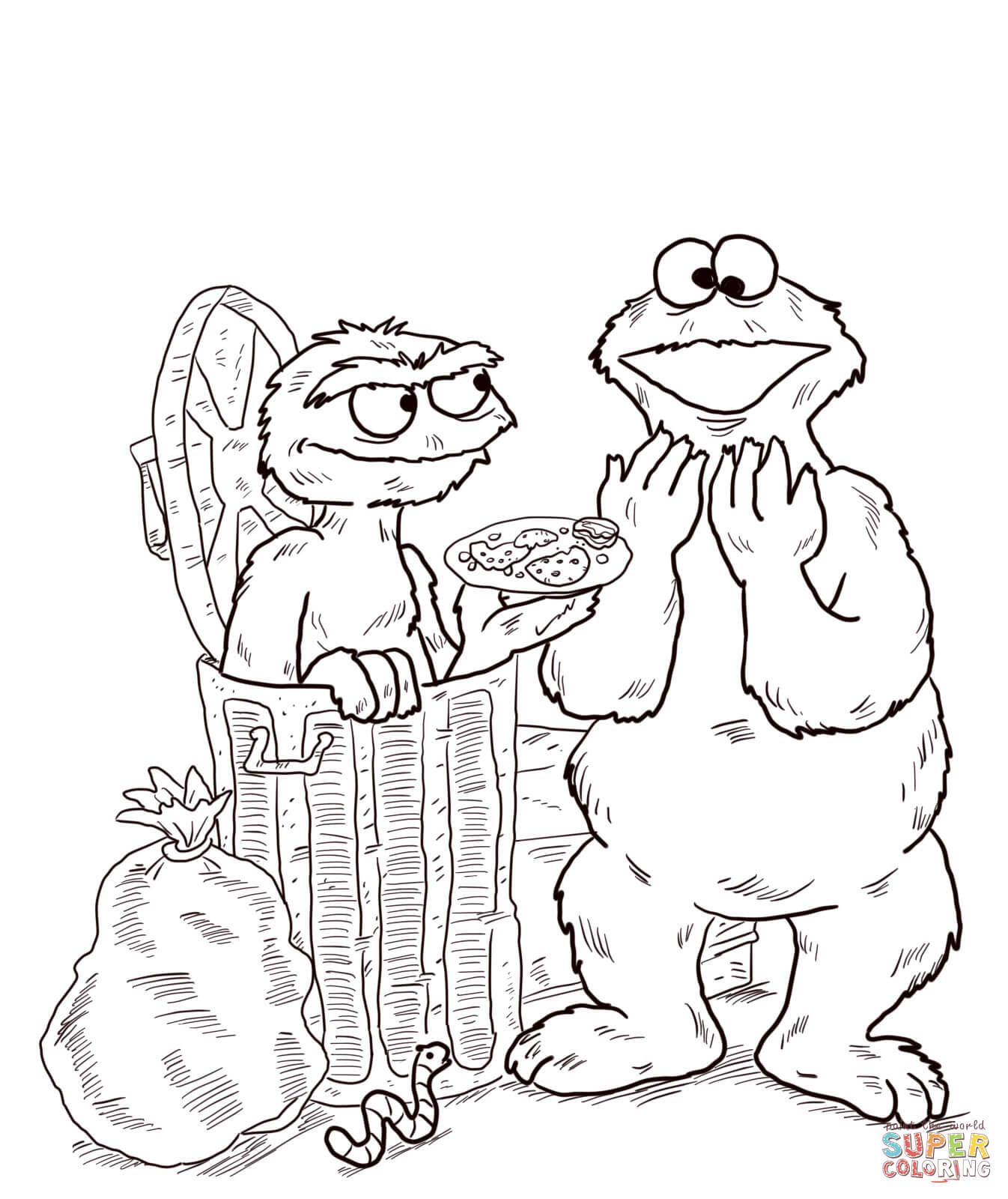 Oscar And Cookie Monster Coloring Page