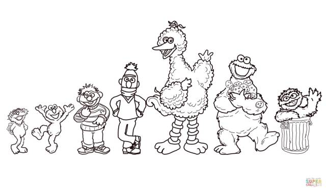 Sesame Street Characters coloring page  Free Printable Coloring Pages