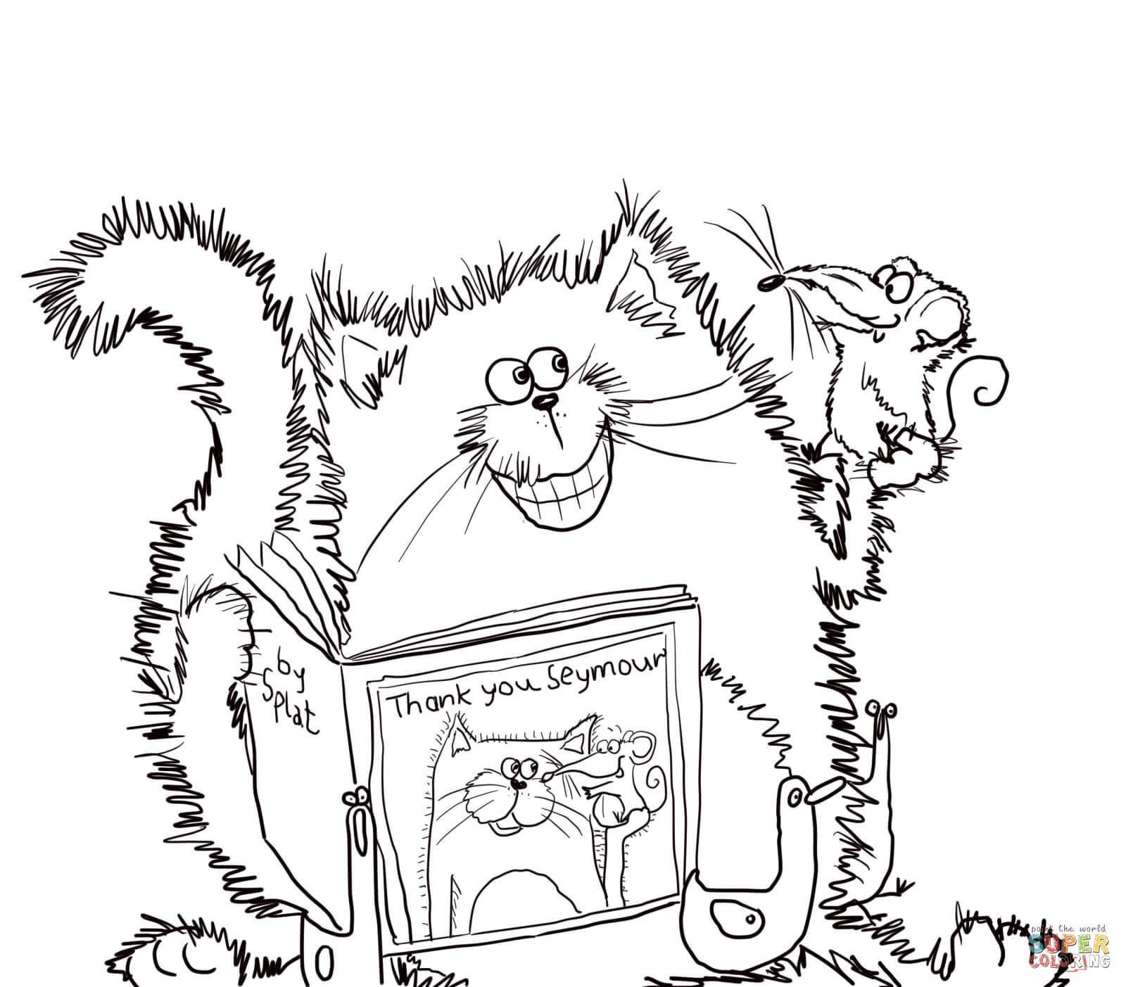 the cat says thank you coloring page free printable coloring pages