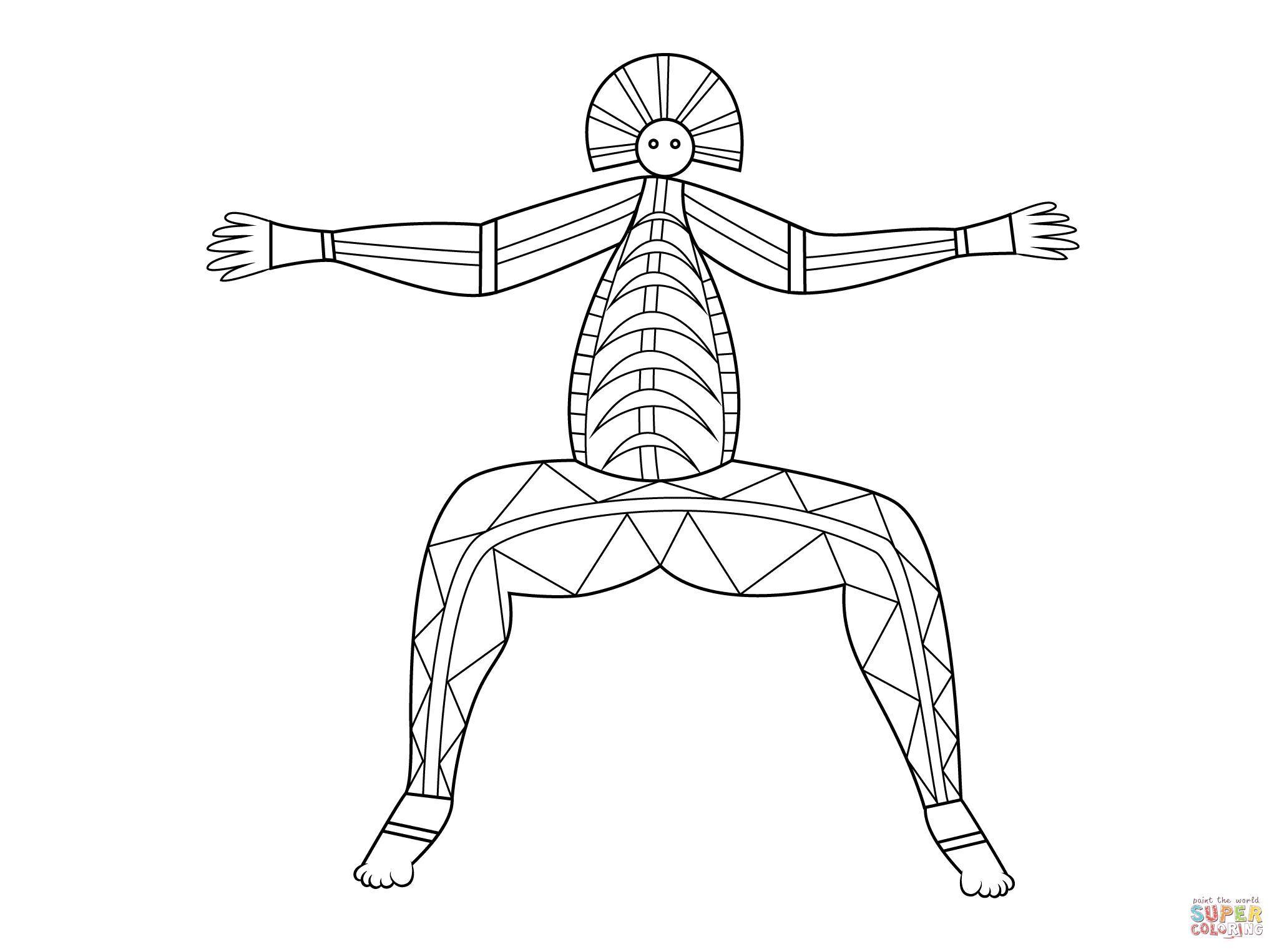 Aboriginal Panting Of Mythological Figure Coloring Page