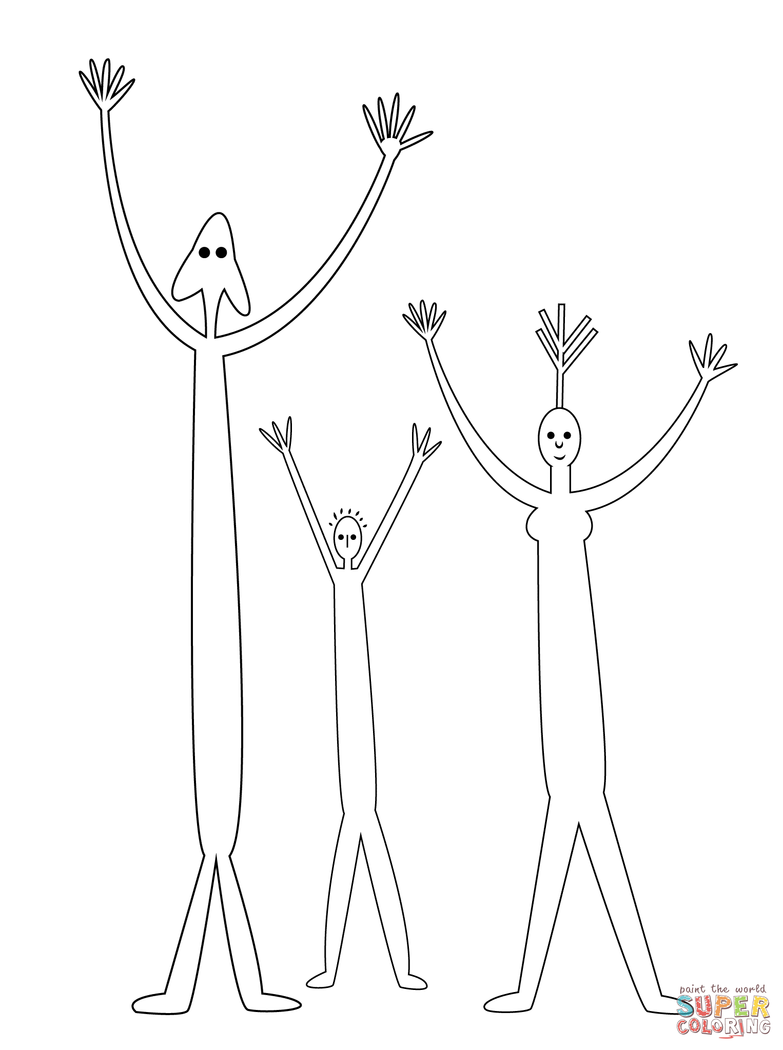 Aboriginal Painting Of Family Coloring Page