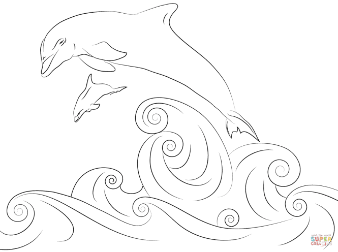 Winter Dolphin Coloring Book | Coloring Page for kids