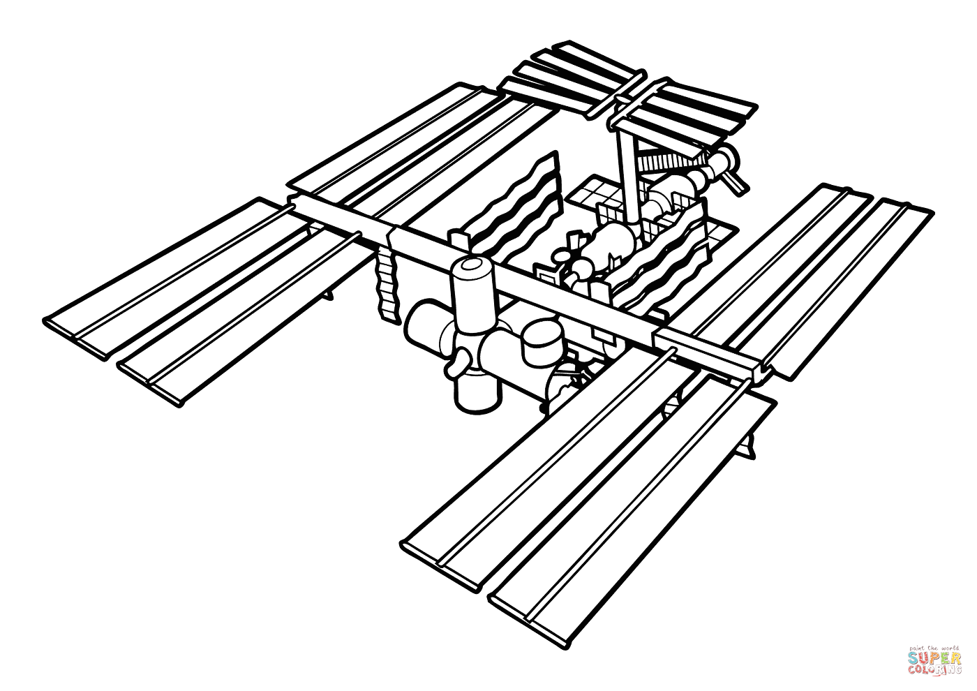 Iss International Space Station Coloring Page
