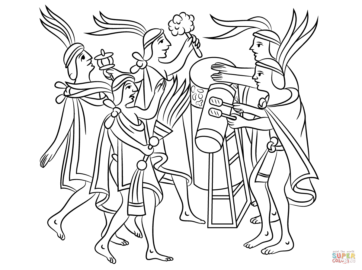 Aztec One Flower Ceremony Coloring Page