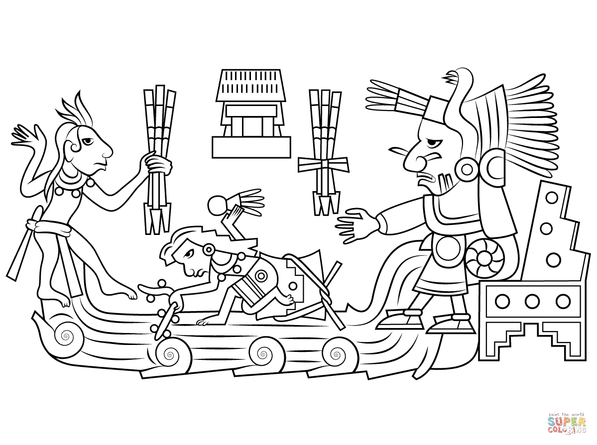 Chalchiuhtlicue Aztec Goddess Of Water Coloring Page