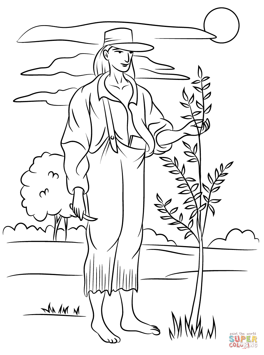 Johnny Appleseed Coloring Page Free Printable Coloring Pages