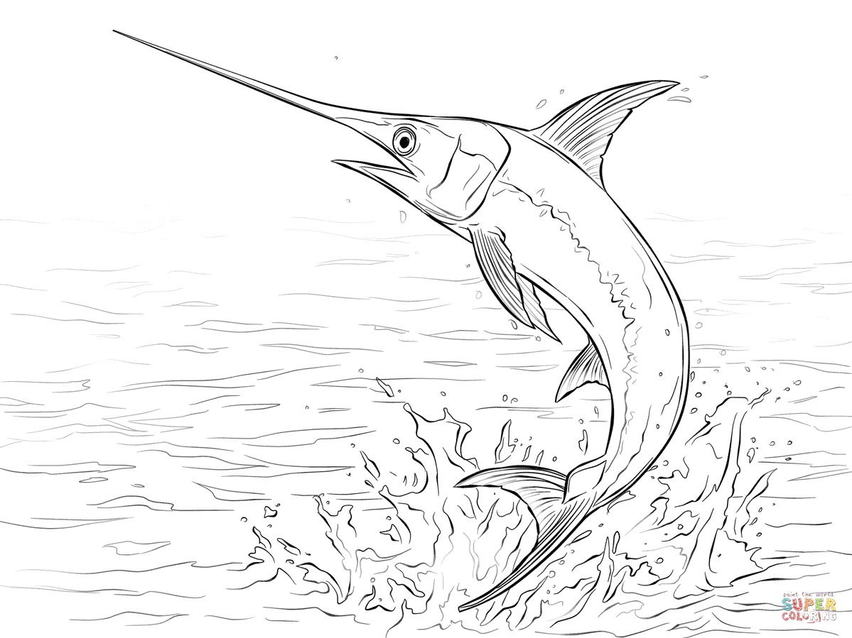 Swordfish Jumping Out Of Water Coloring Page Free Printable