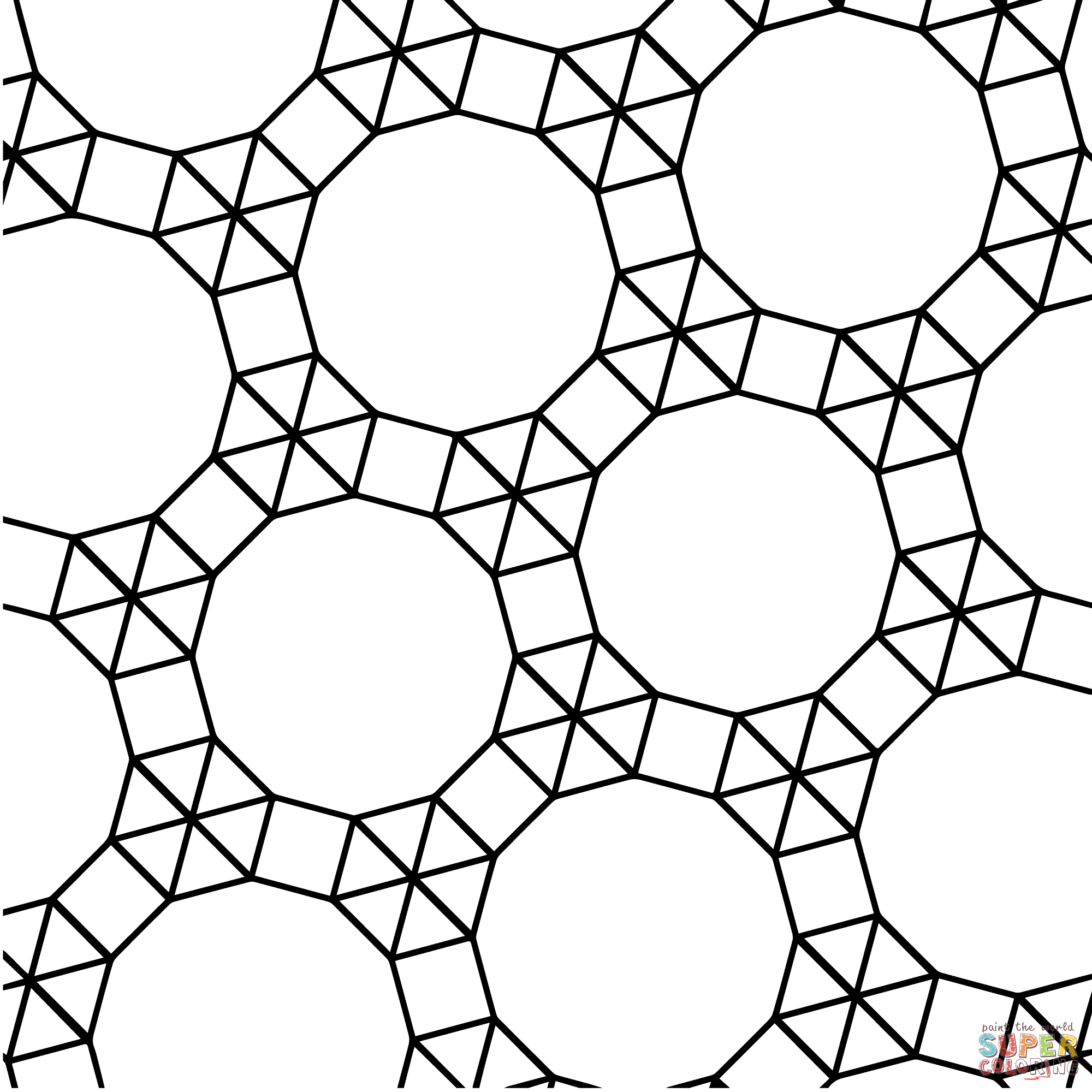 Tessellation With Dodecagon Triangle And Square Coloring