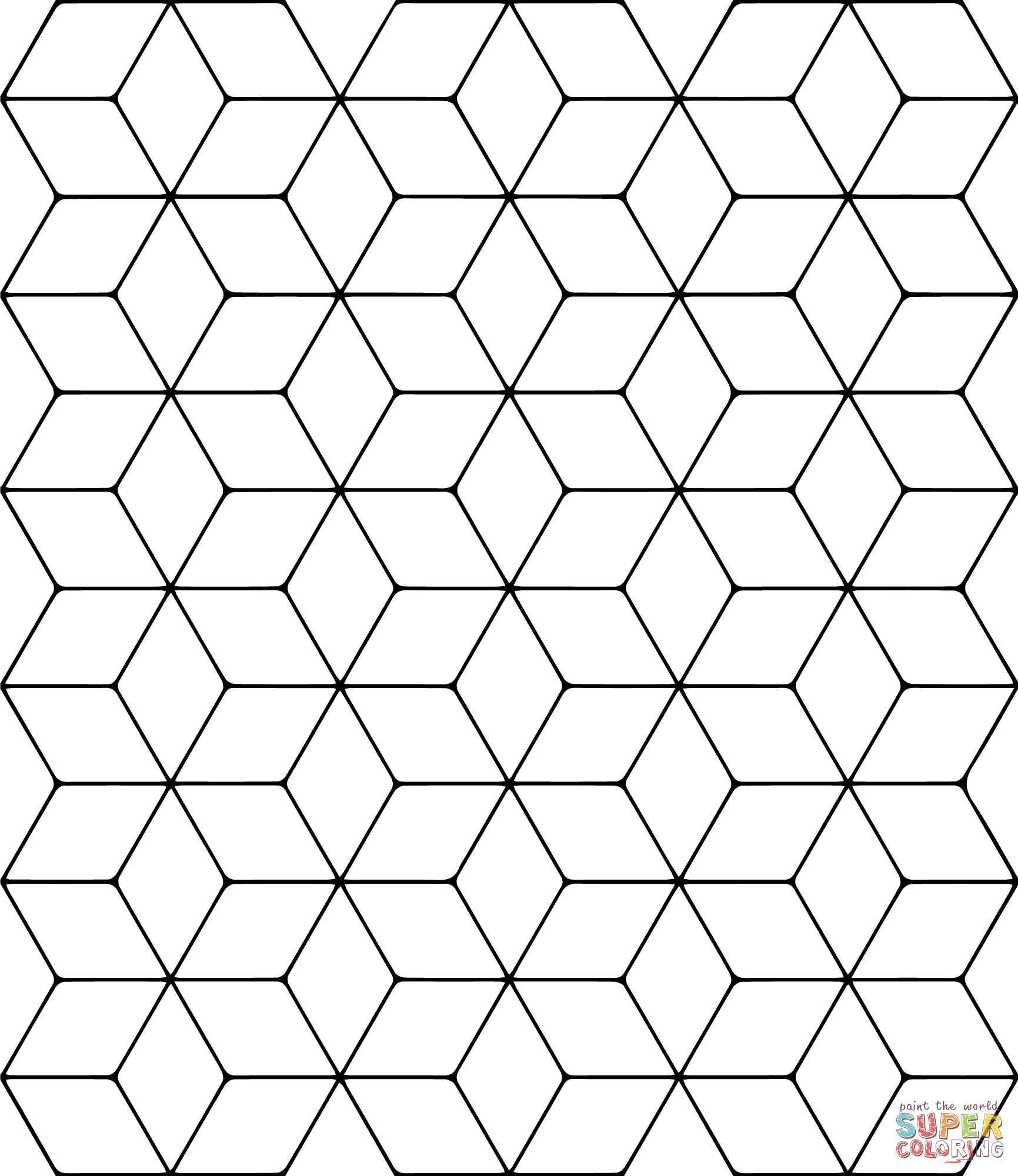 Tessellation With Rhombus Coloring Page
