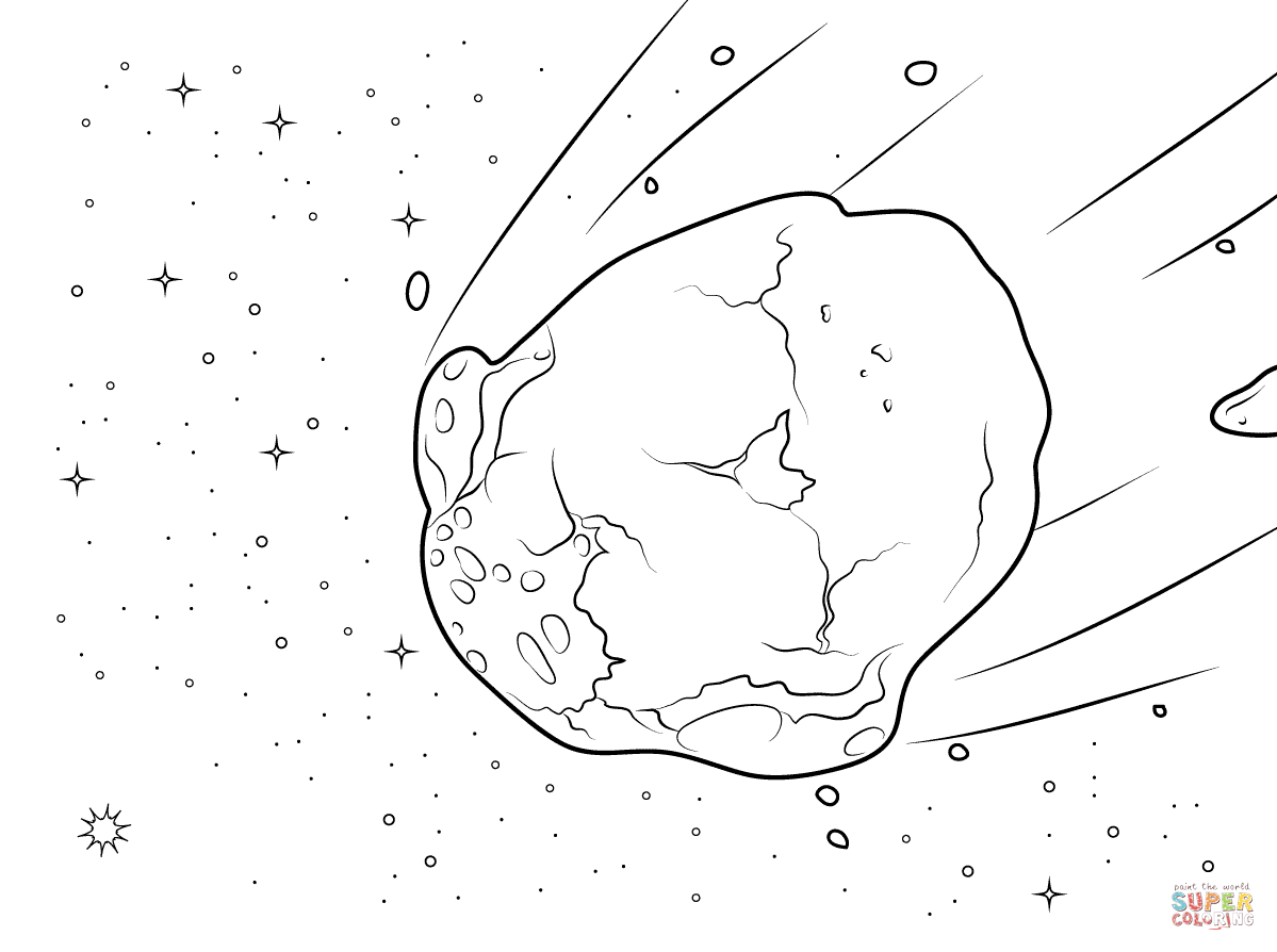 Watery Asteroid Coloring Page