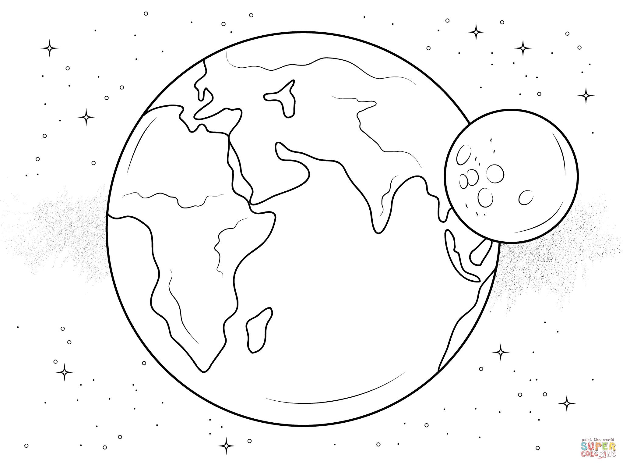 Dibujo De Tierra Y Luna Para Colorear