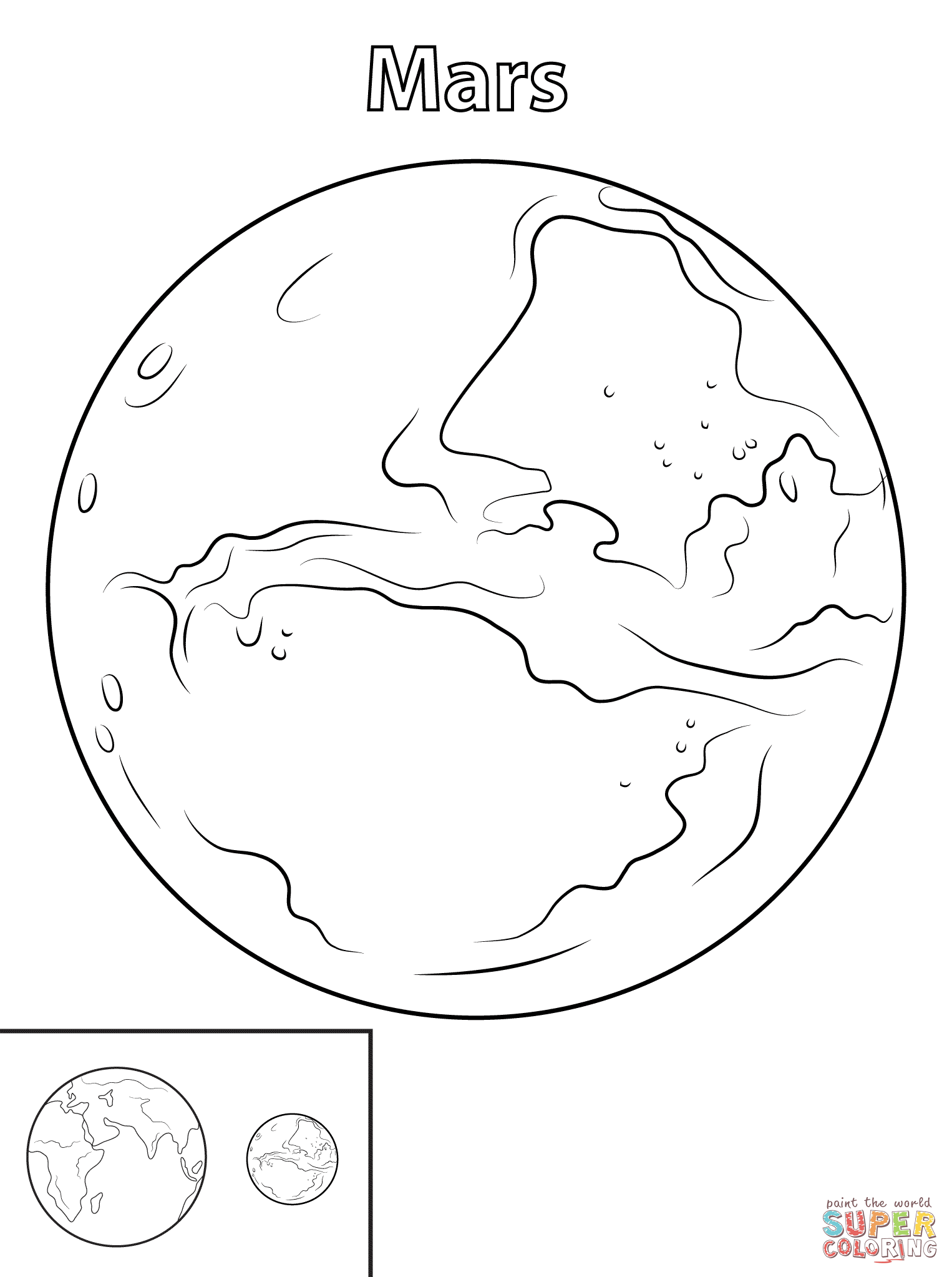 Mars Planet Coloring Page