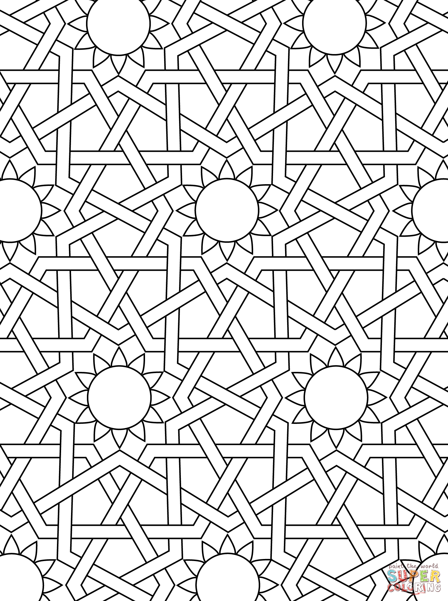 Islamic Ornament Mosaic Coloring Page