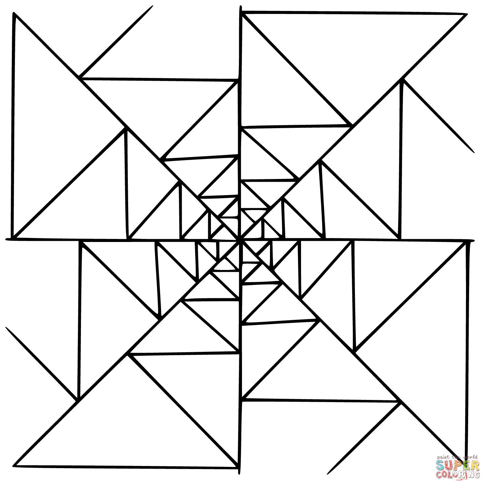 Mandala With Triangles Coloring Page