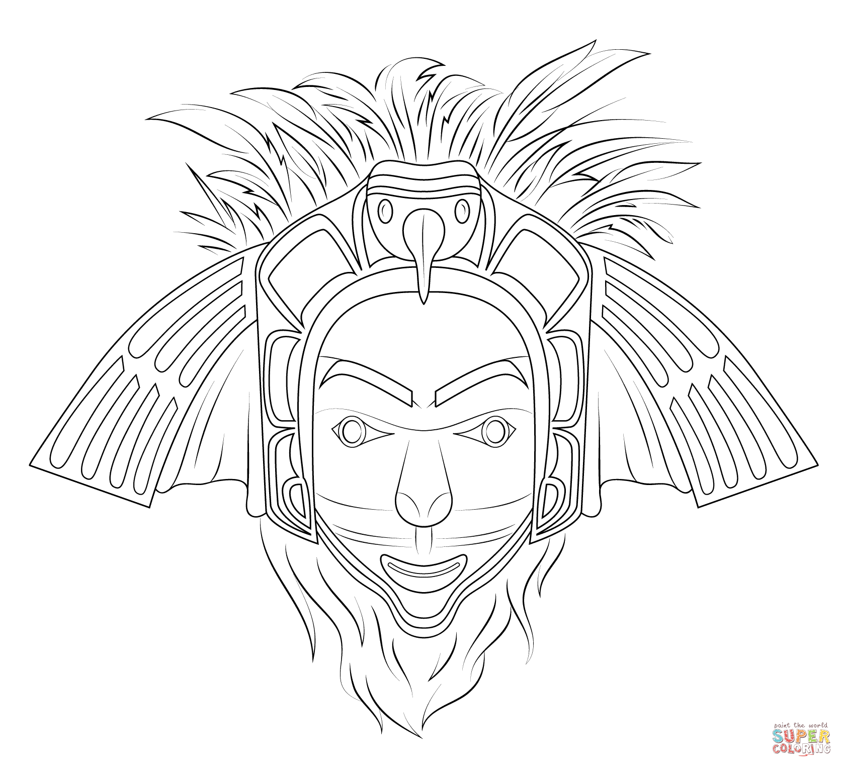 Native American Eagle Mask Coloring Page