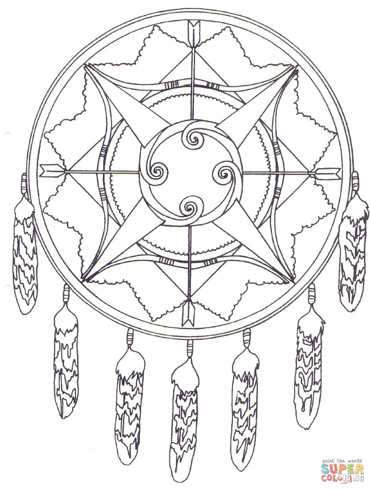 mandala with bows and arrows page free