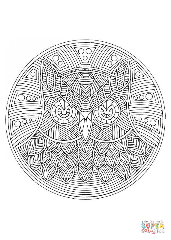 owl mandala coloring page free printable coloring pages