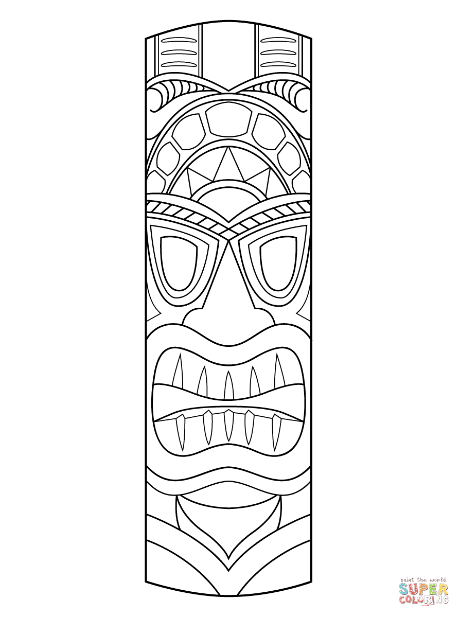tiki tribal pole coloring page free printable coloring pages
