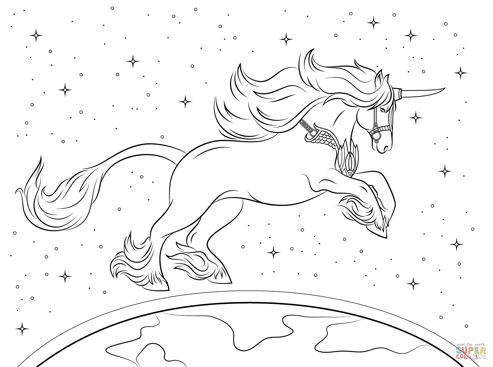 Beautiful Unicorn Coloring Page Free Printable Coloring Pages