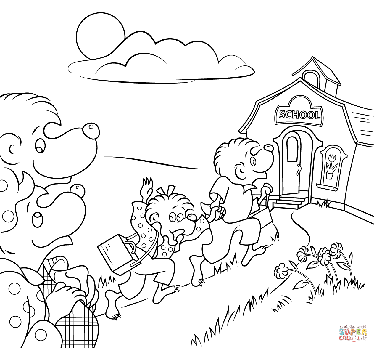 Berenstain Bears Go To School Coloring Page