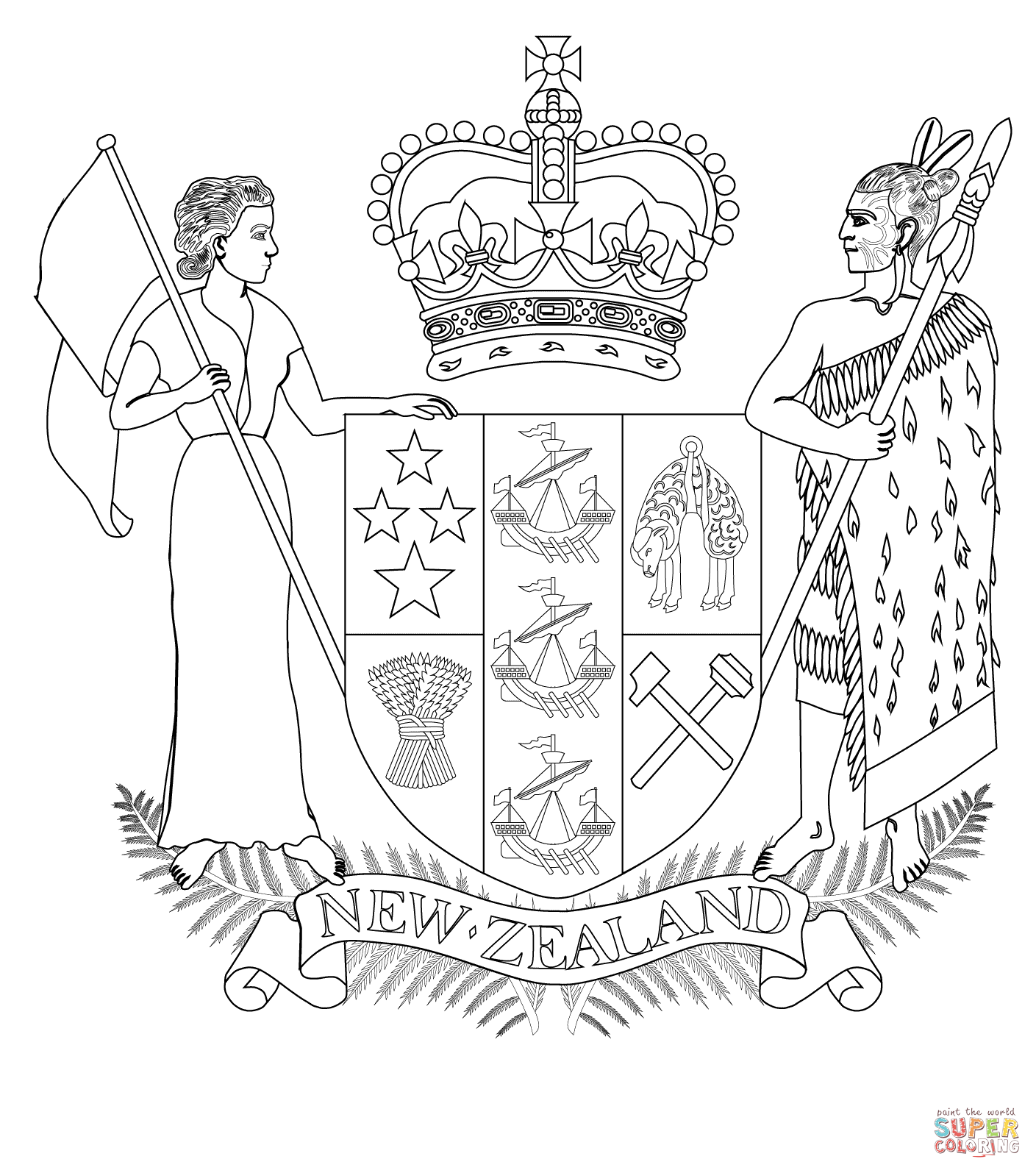 Coat Of Arms Of New Zealand Coloring Page