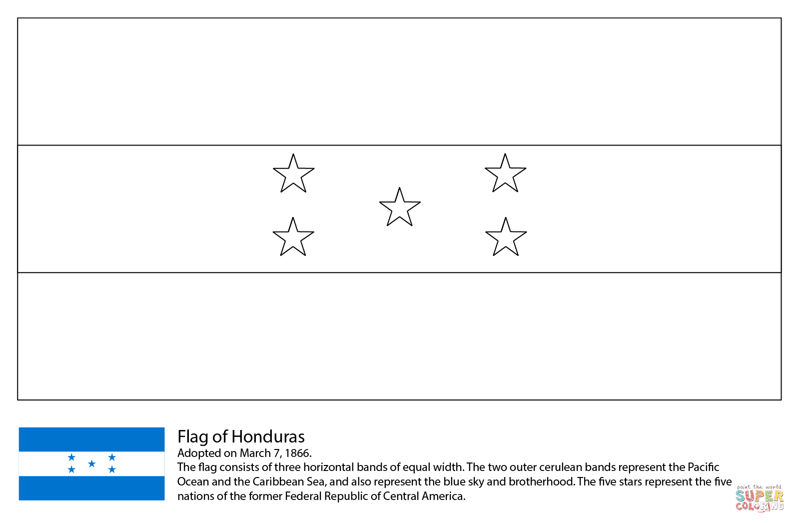 Flag Of Honduras Coloring Page