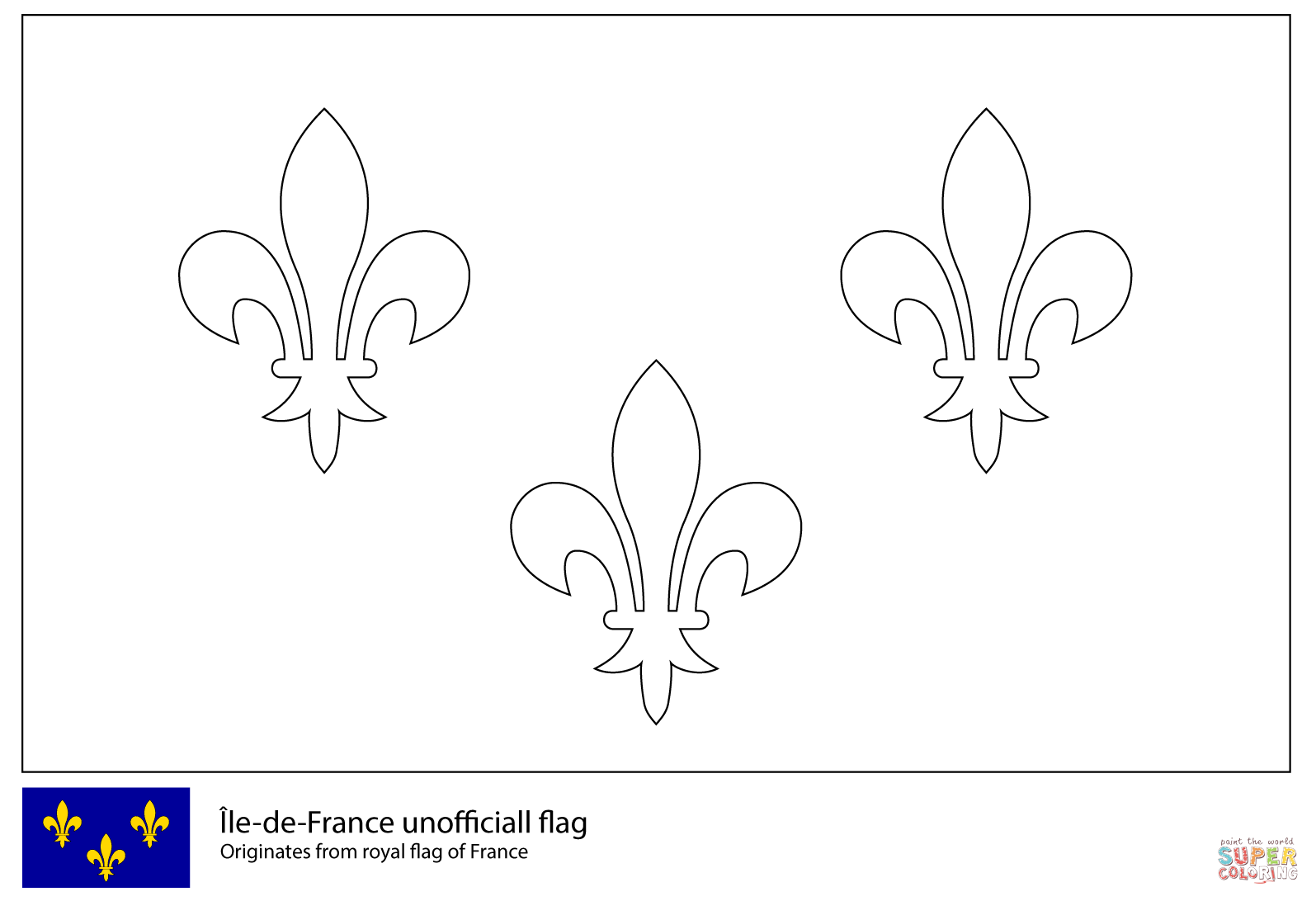 Flag Of Ile De France Coloring Page