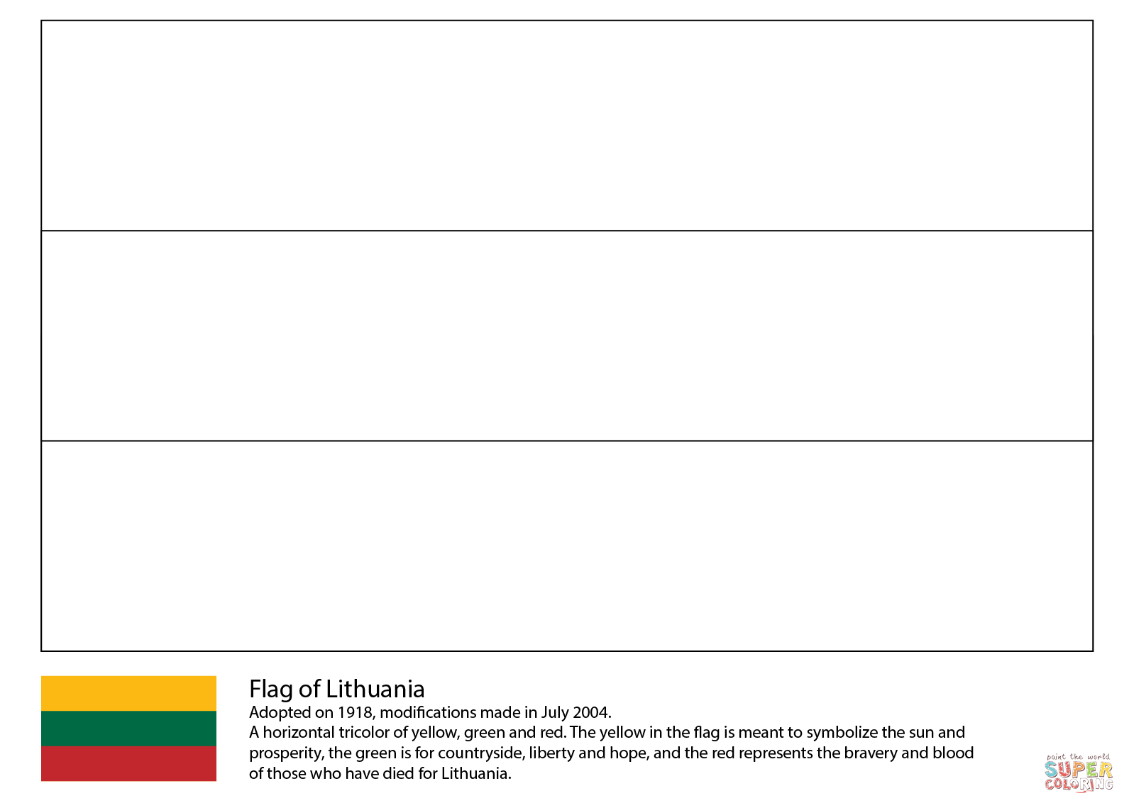 Lithuania Flag Coloring Pages