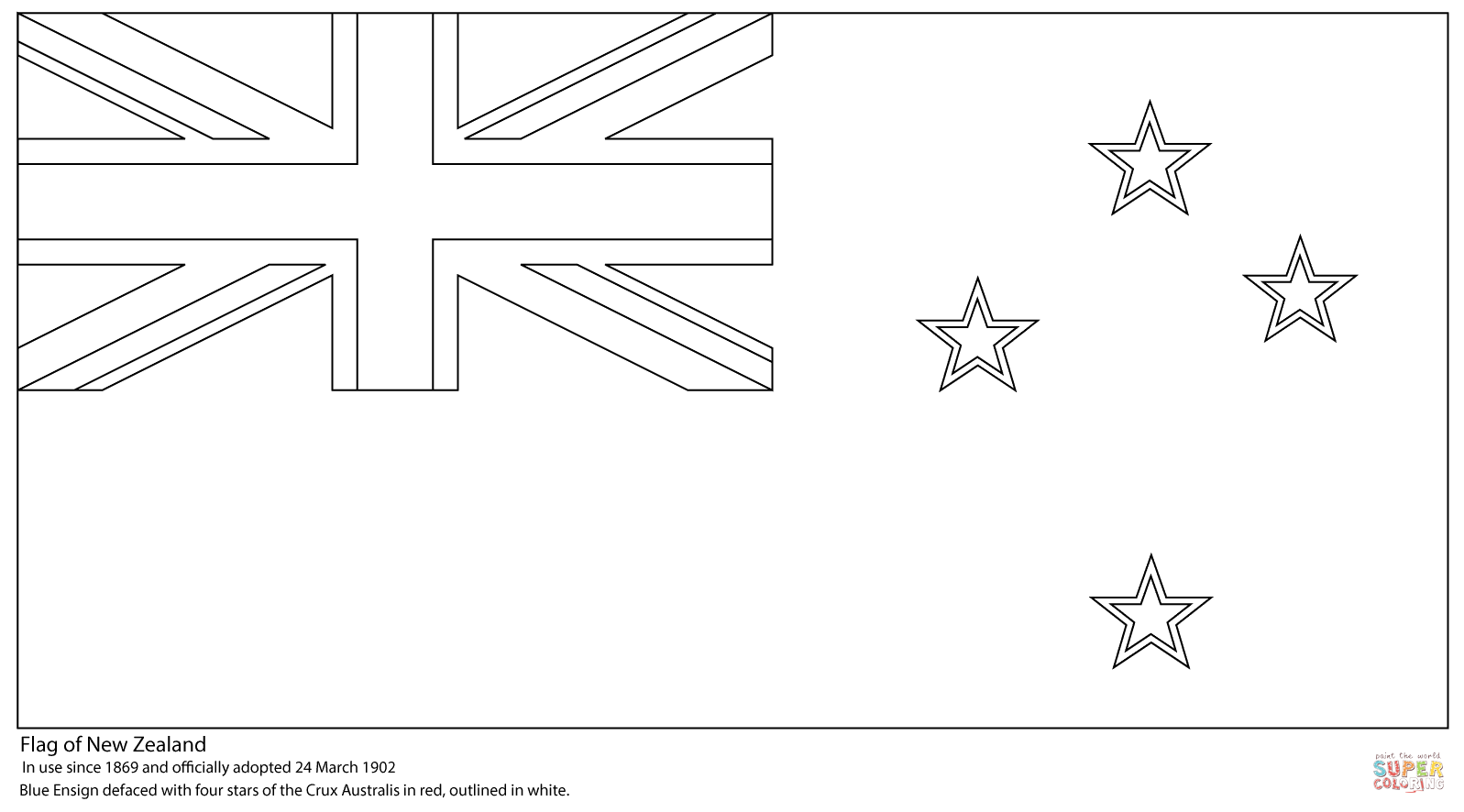 Flag Of New Zealand Coloring Page