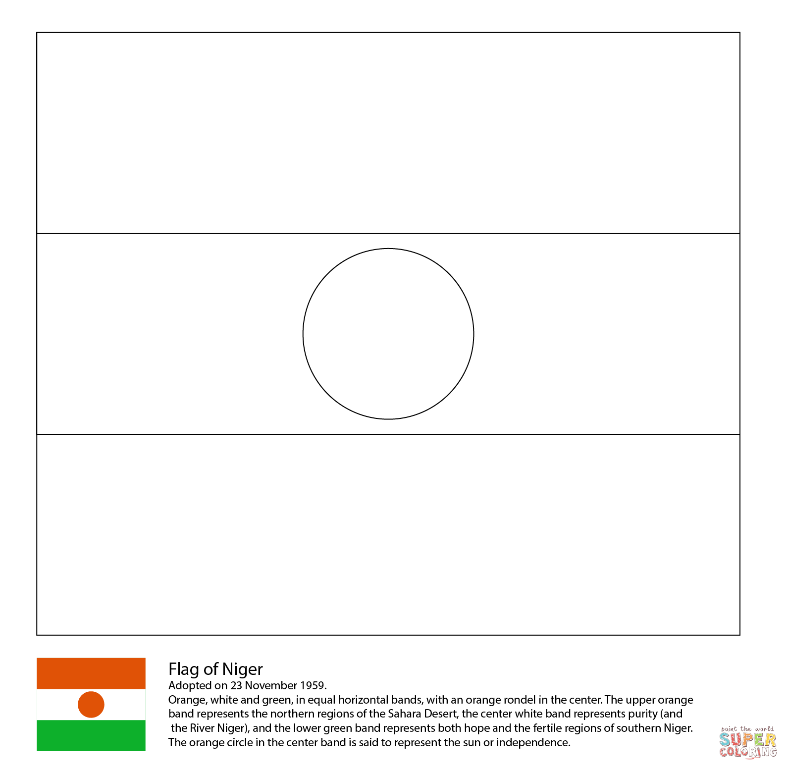 Flag Of Niger Coloring Page