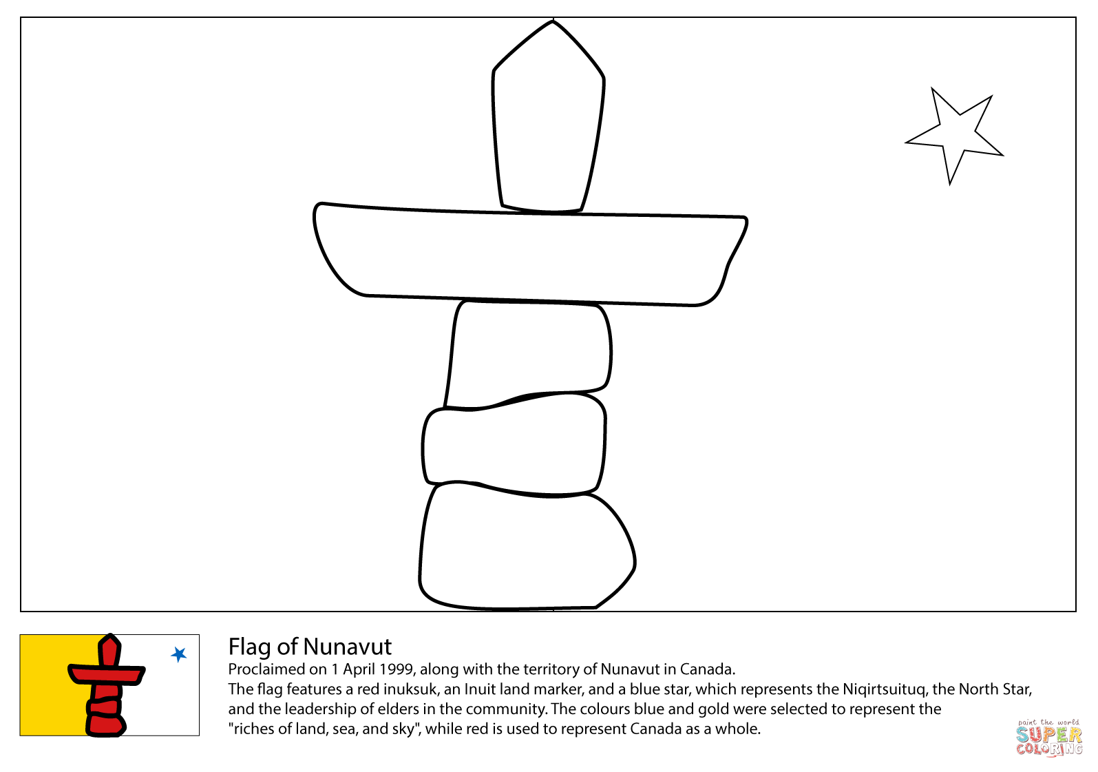 flag of nunavut coloring page free printable coloring pages