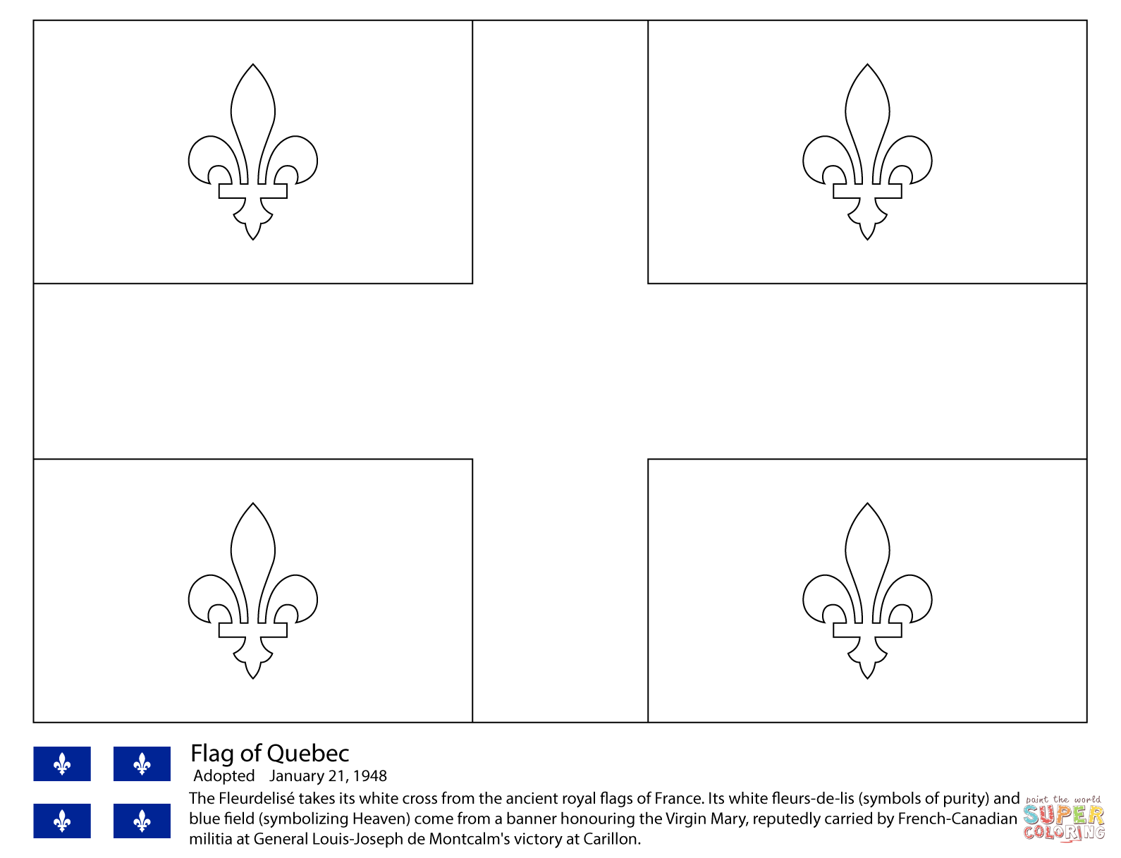 Flag Of Quebec Coloring Page Free Printable Coloring Pages