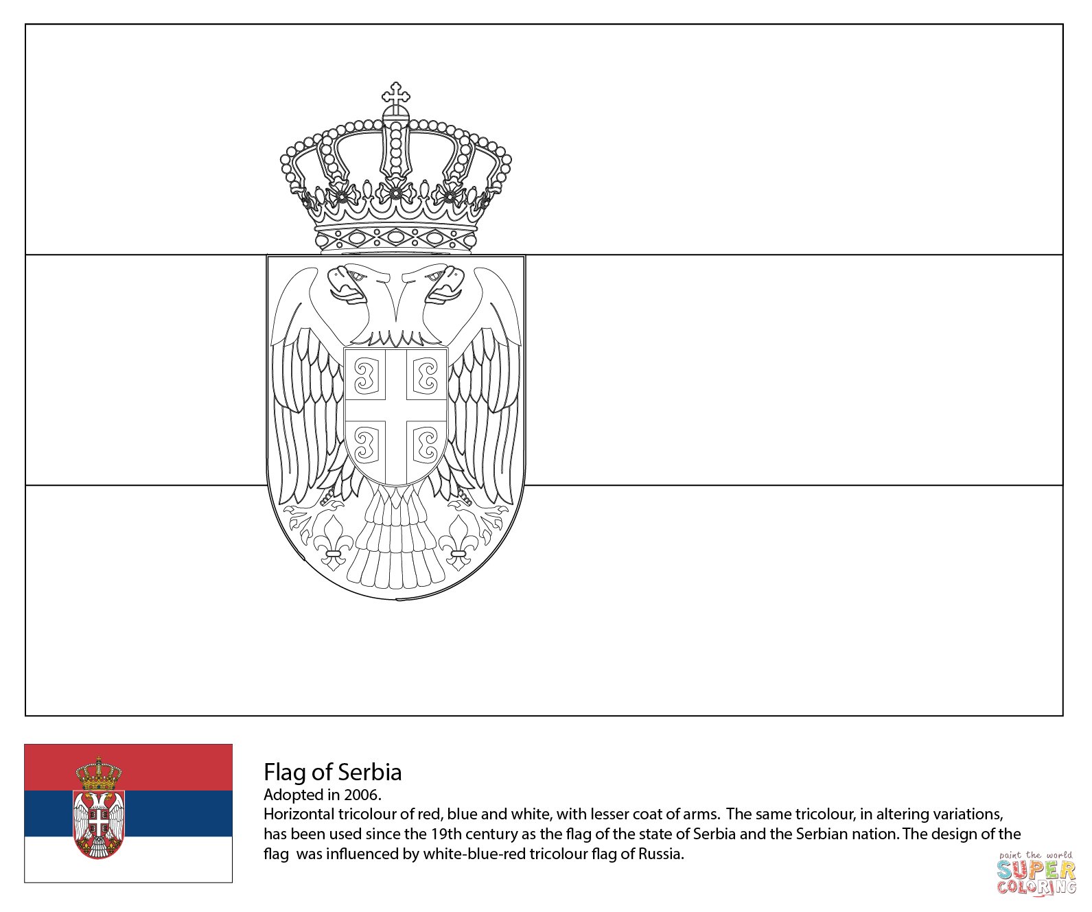 Flag Of Serbia Coloring Page