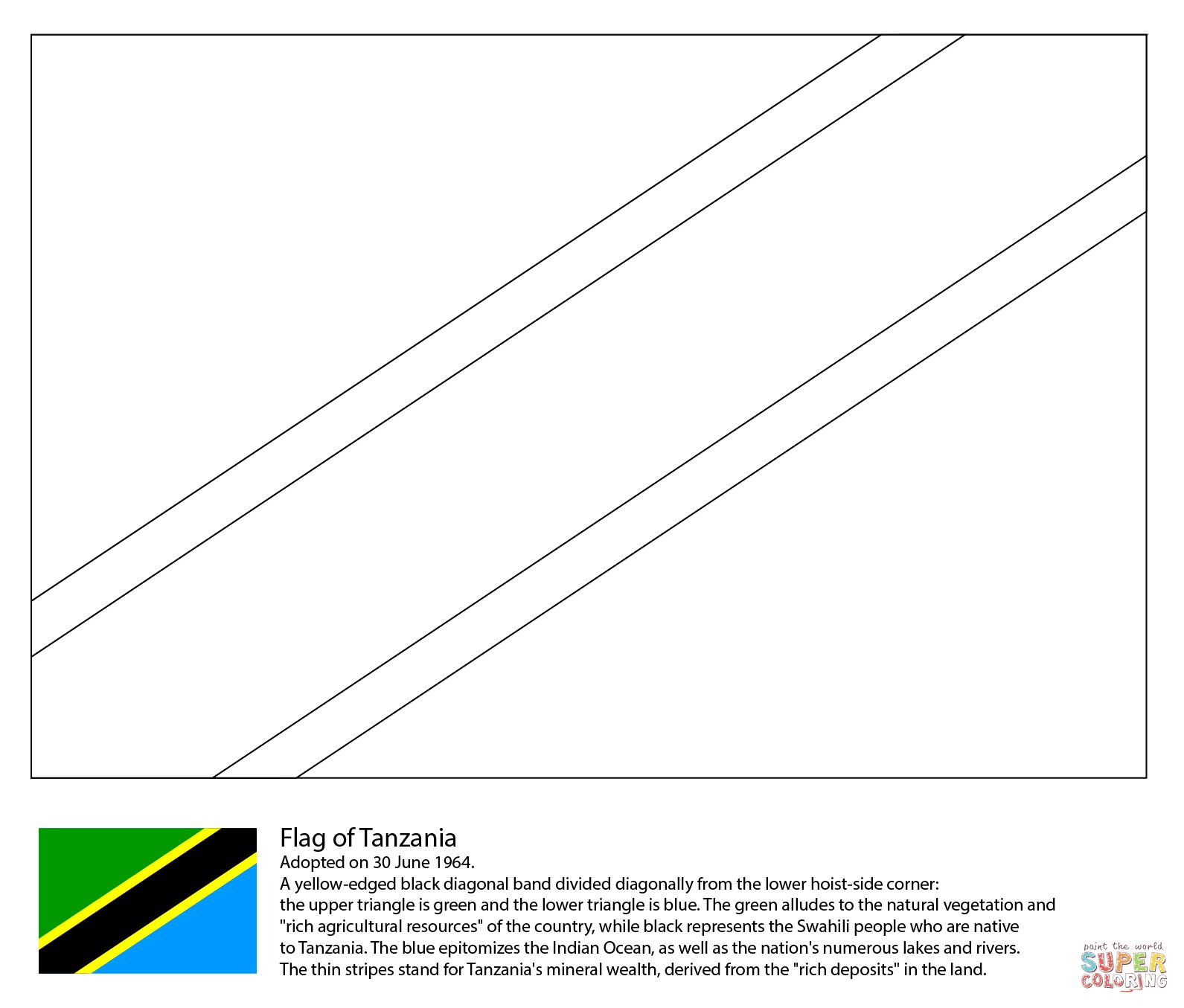 Flag Of Tanzania Coloring Page