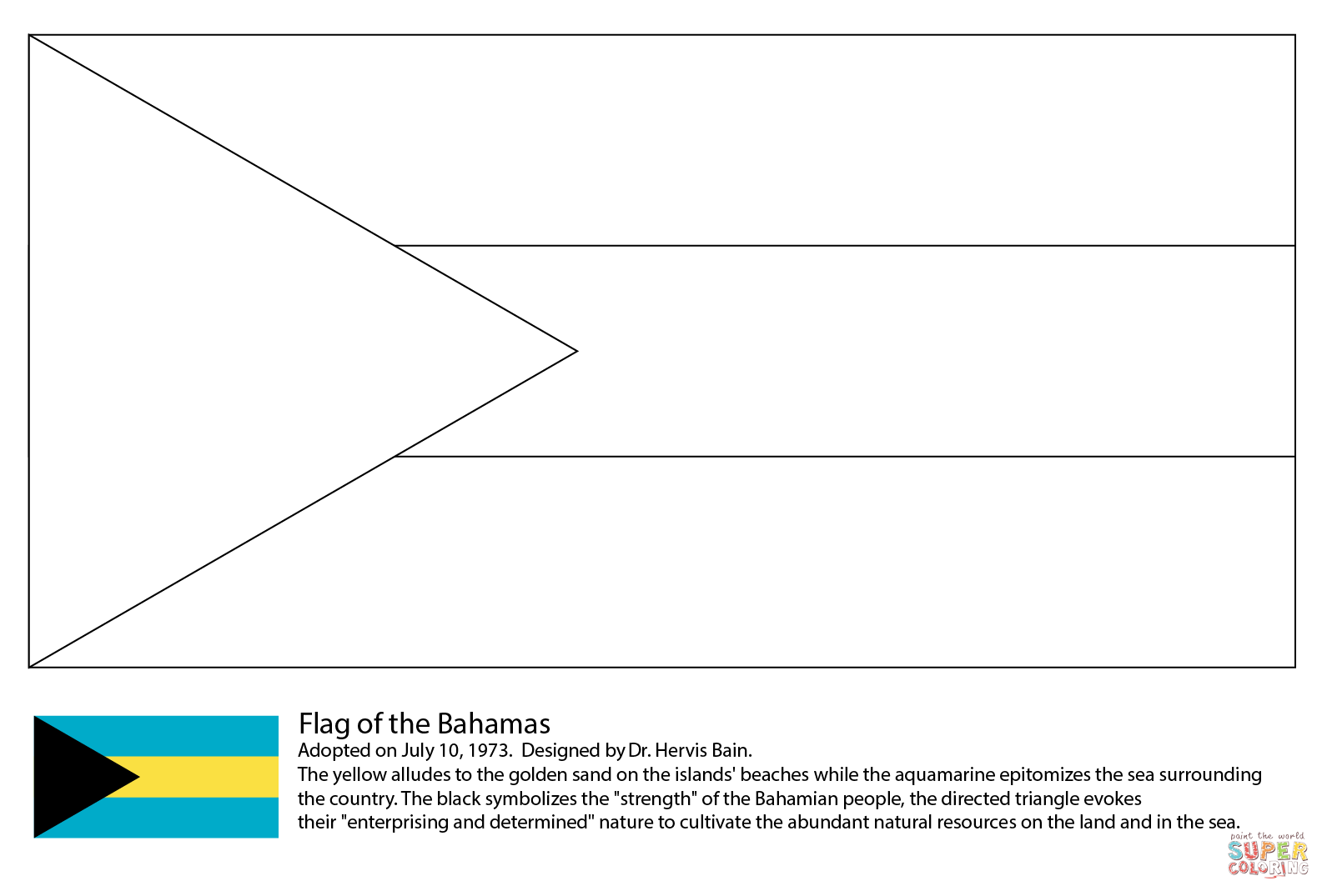 Flag Of The Bahamas Coloring Page