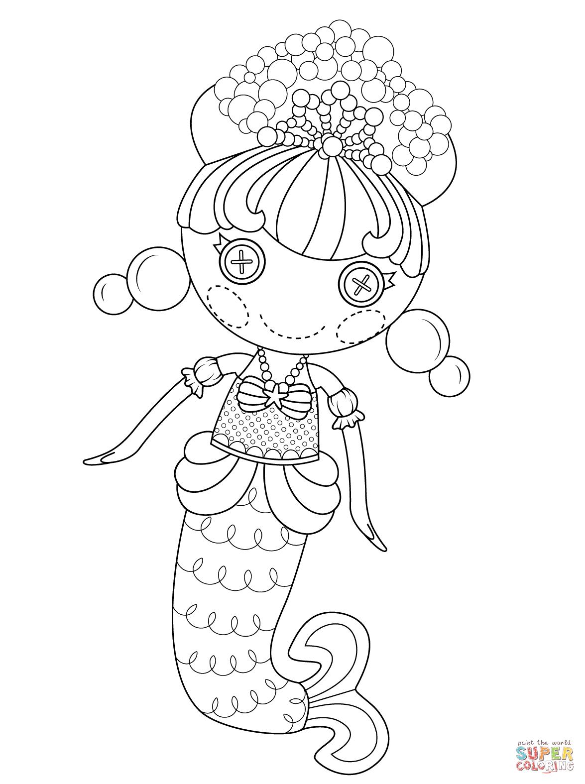 lalaloopsy bubbly mermaid coloring page free printable coloring