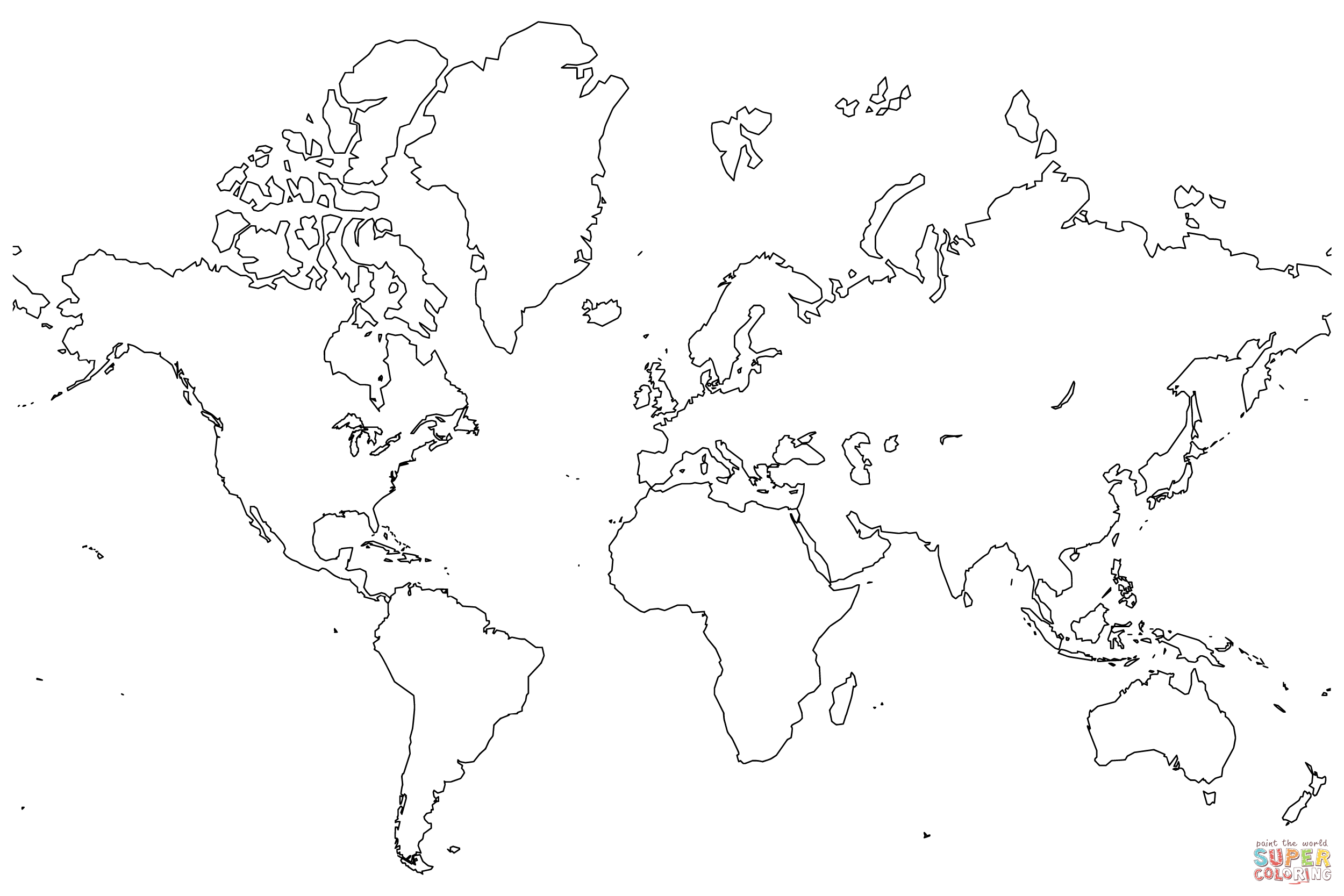 map of the world coloring page aabh