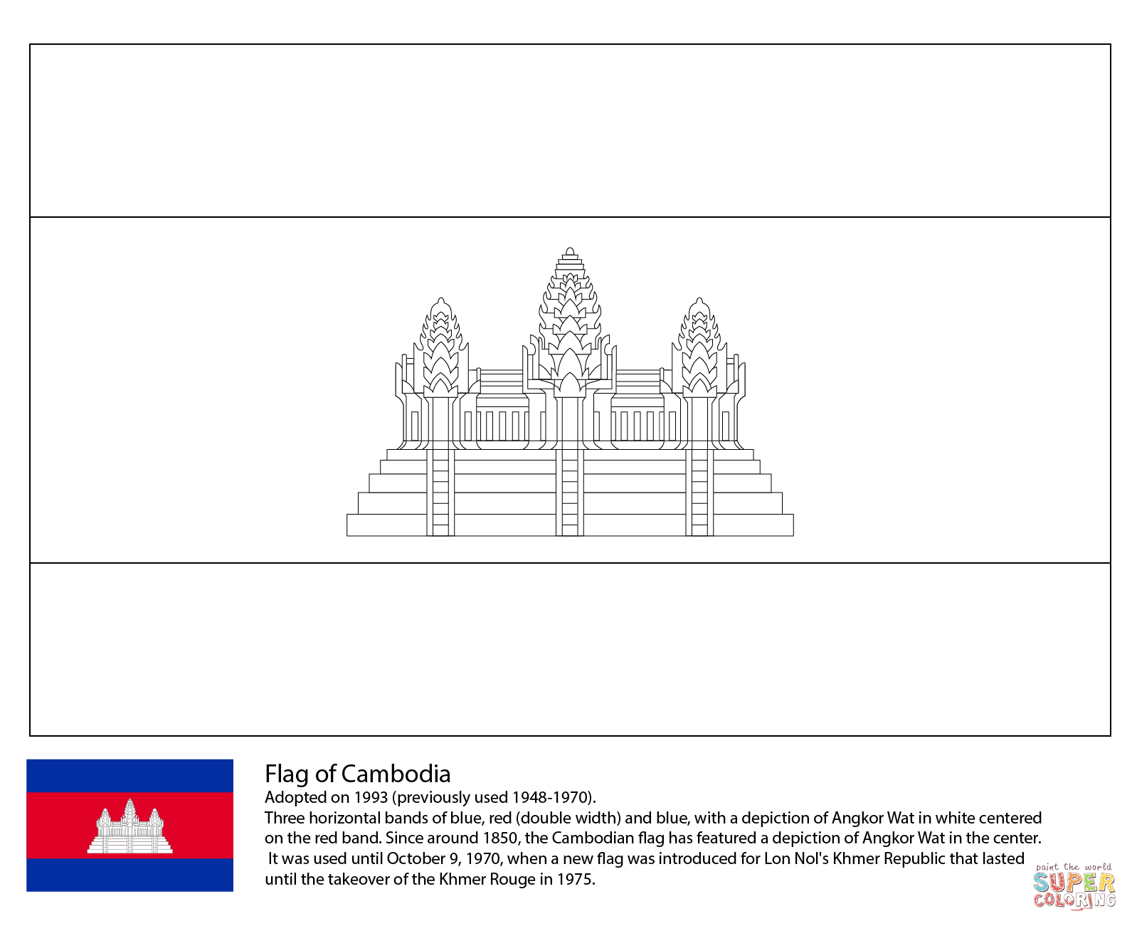 Flag Of Cambodia Coloring Page
