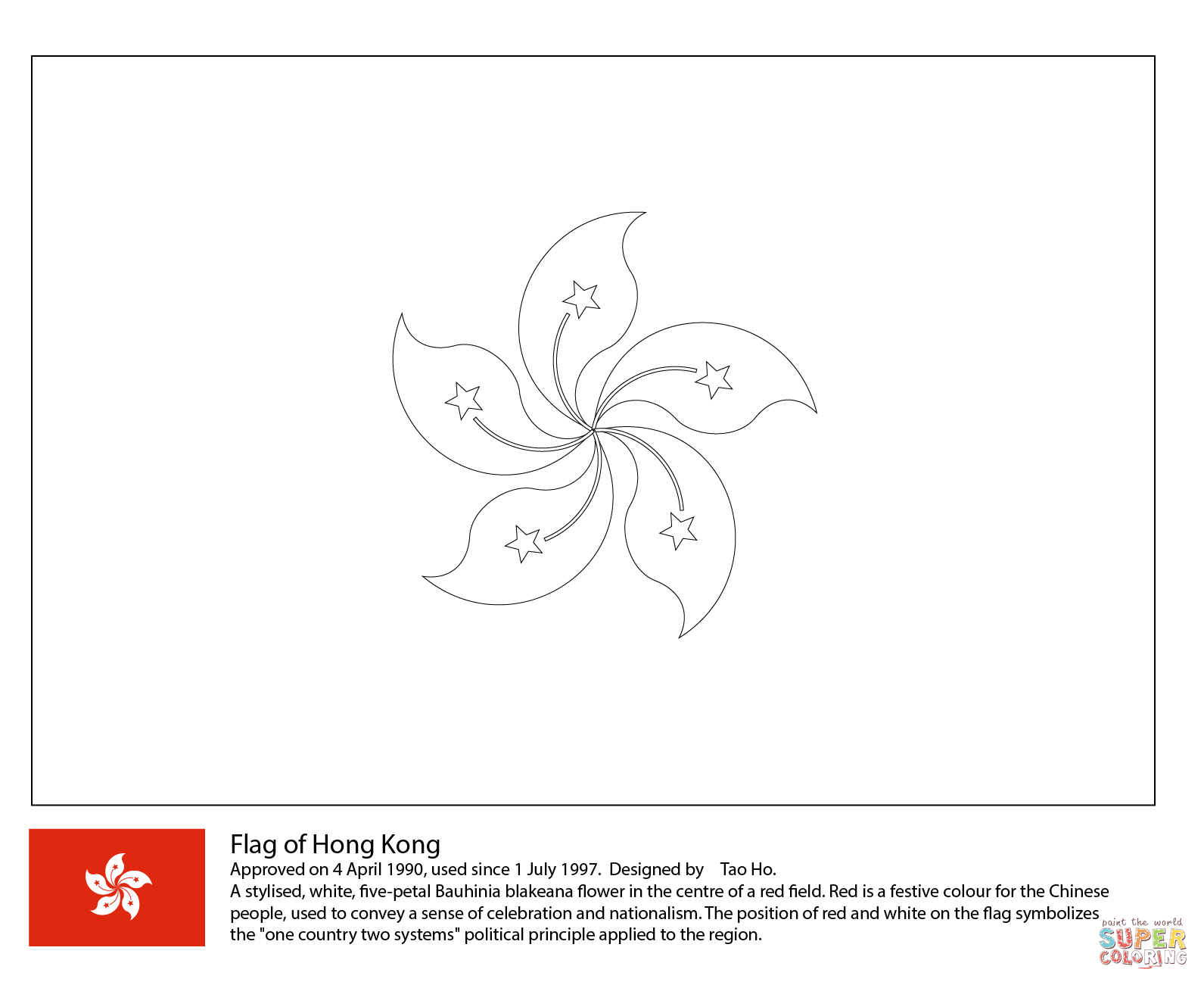Flag Of Hong Kong Coloring Page