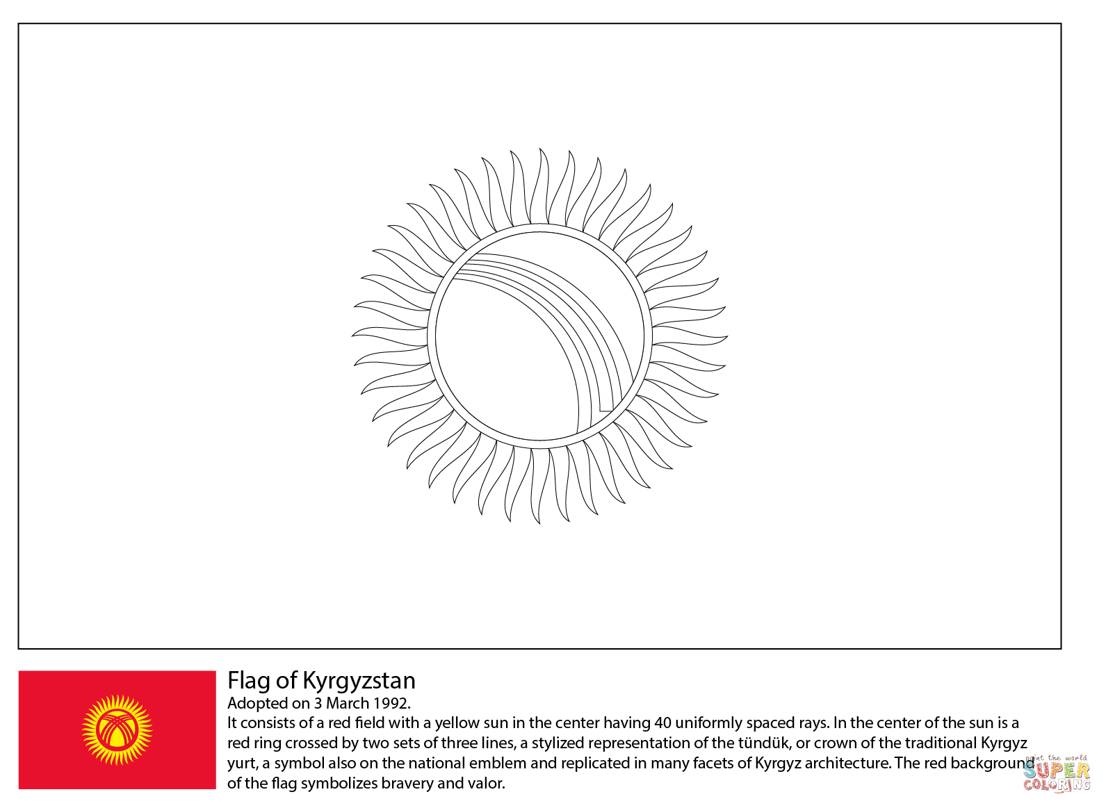 Flag Of Kyrgyzstan Coloring Page Free Printable Coloring