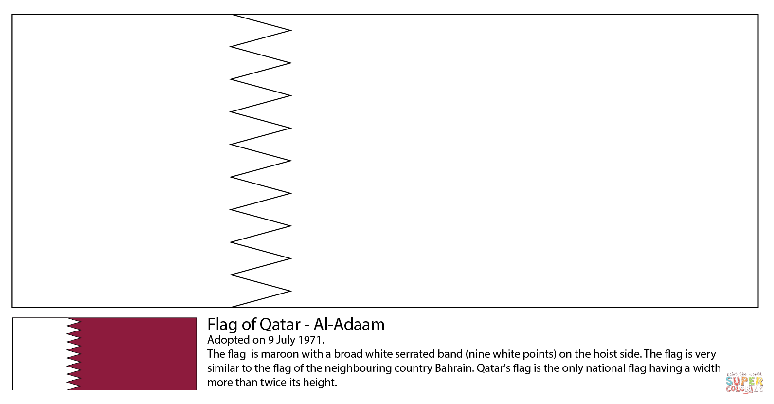 Flag Of Qatar Coloring Page