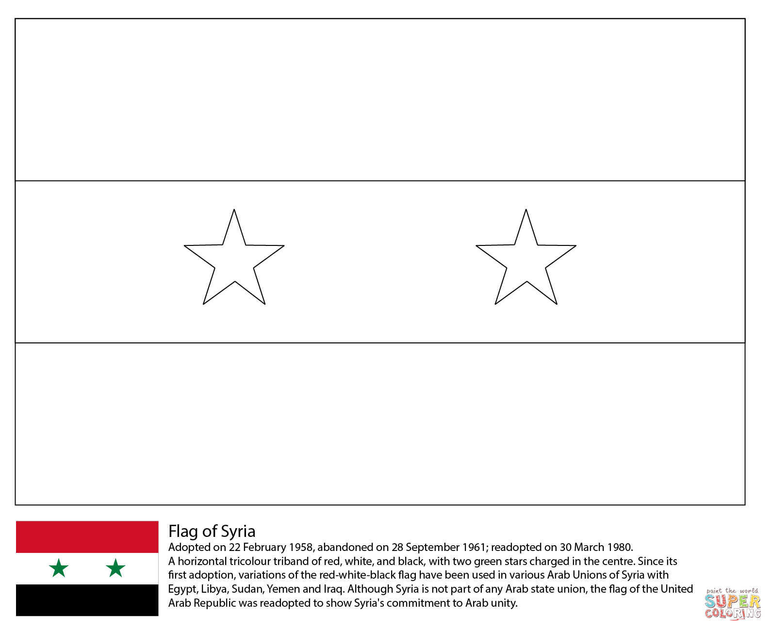 Ausmalbild Flagge Von Syrien
