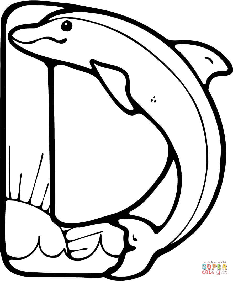 letter d is for dolphin coloring page free printable coloring pages