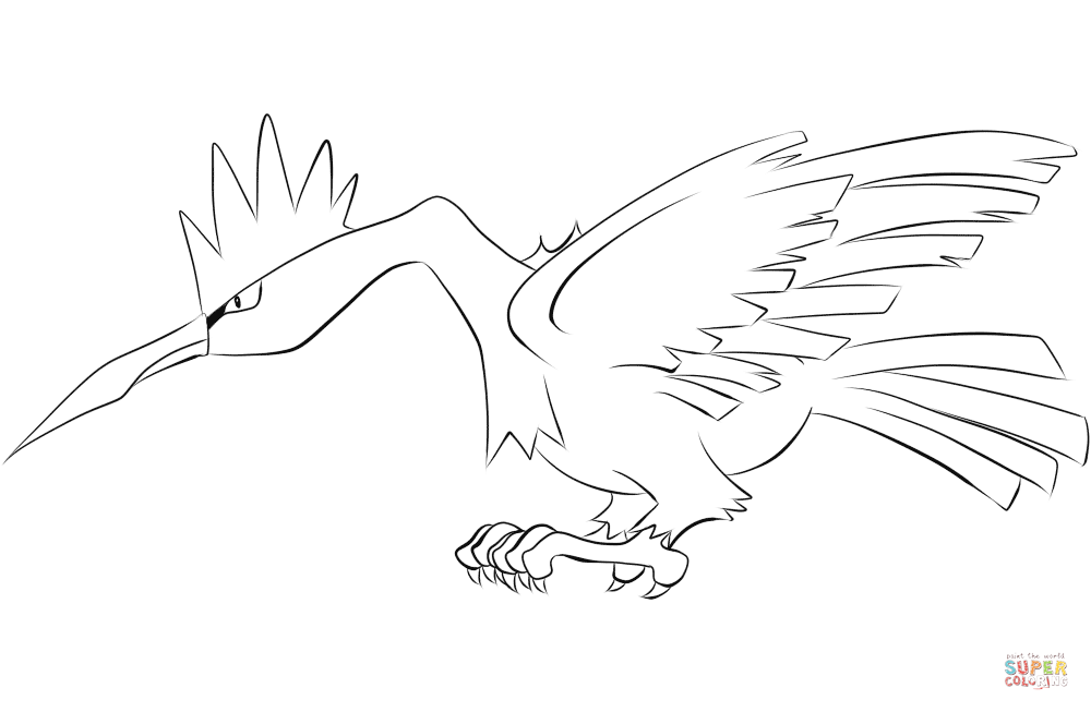 Fearow Coloring Page Free Printable Coloring Pages